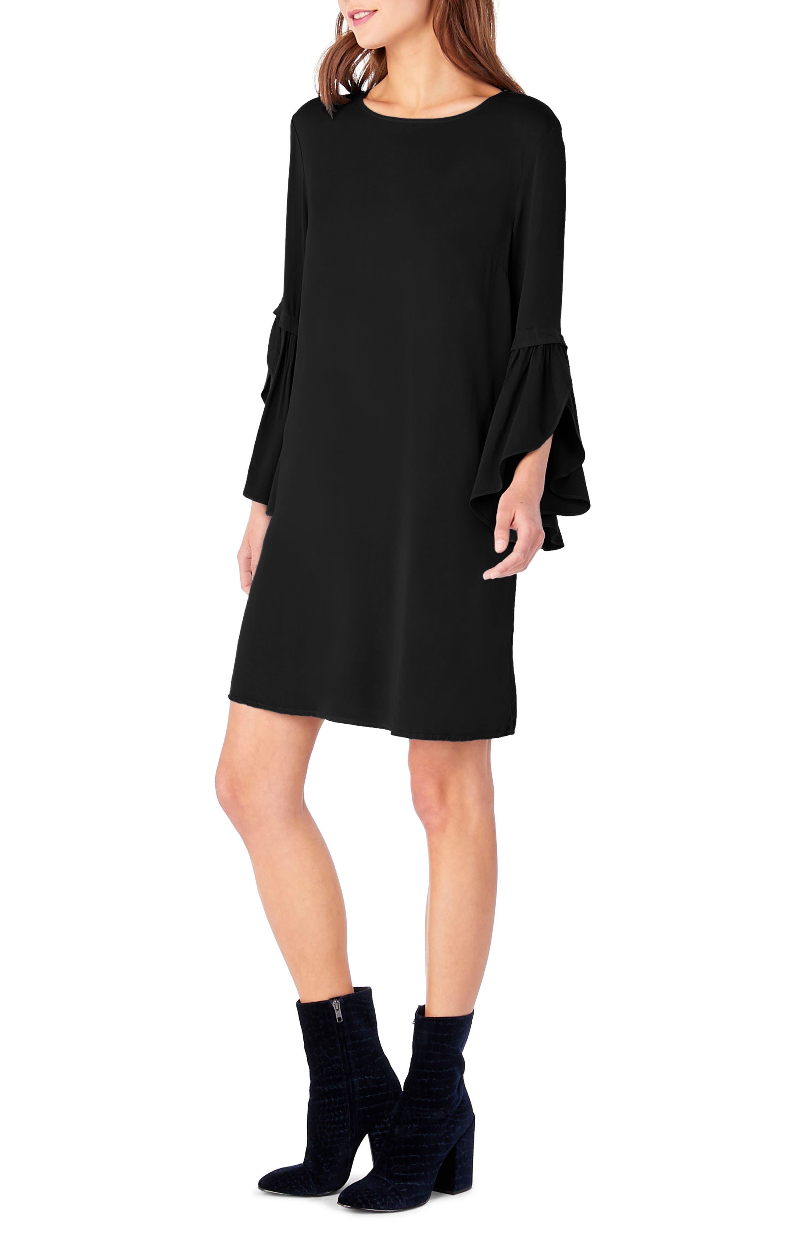 Bell Sleeve Shift Dress,                             Alternate thumbnail 3, color,                             001