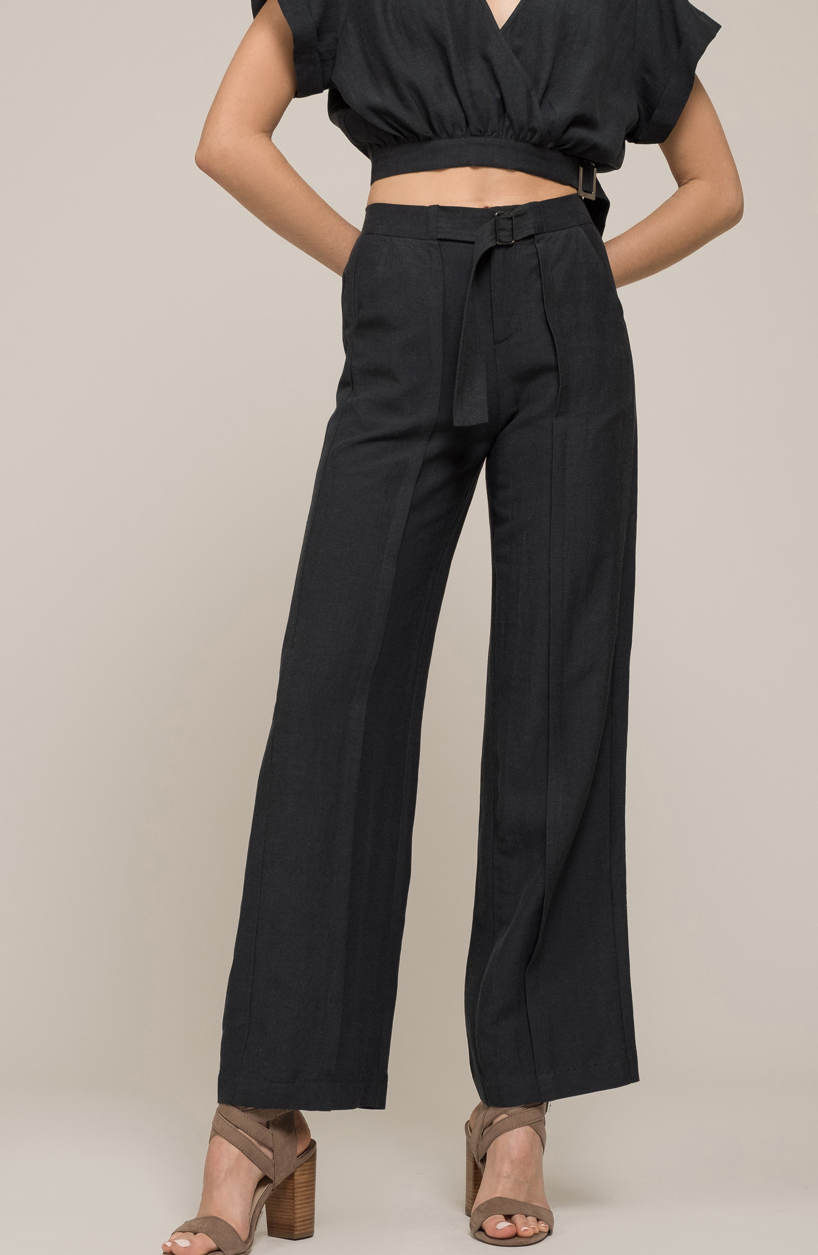 Belted High Waist Pants,                             Alternate thumbnail 7, color,                             FOREST