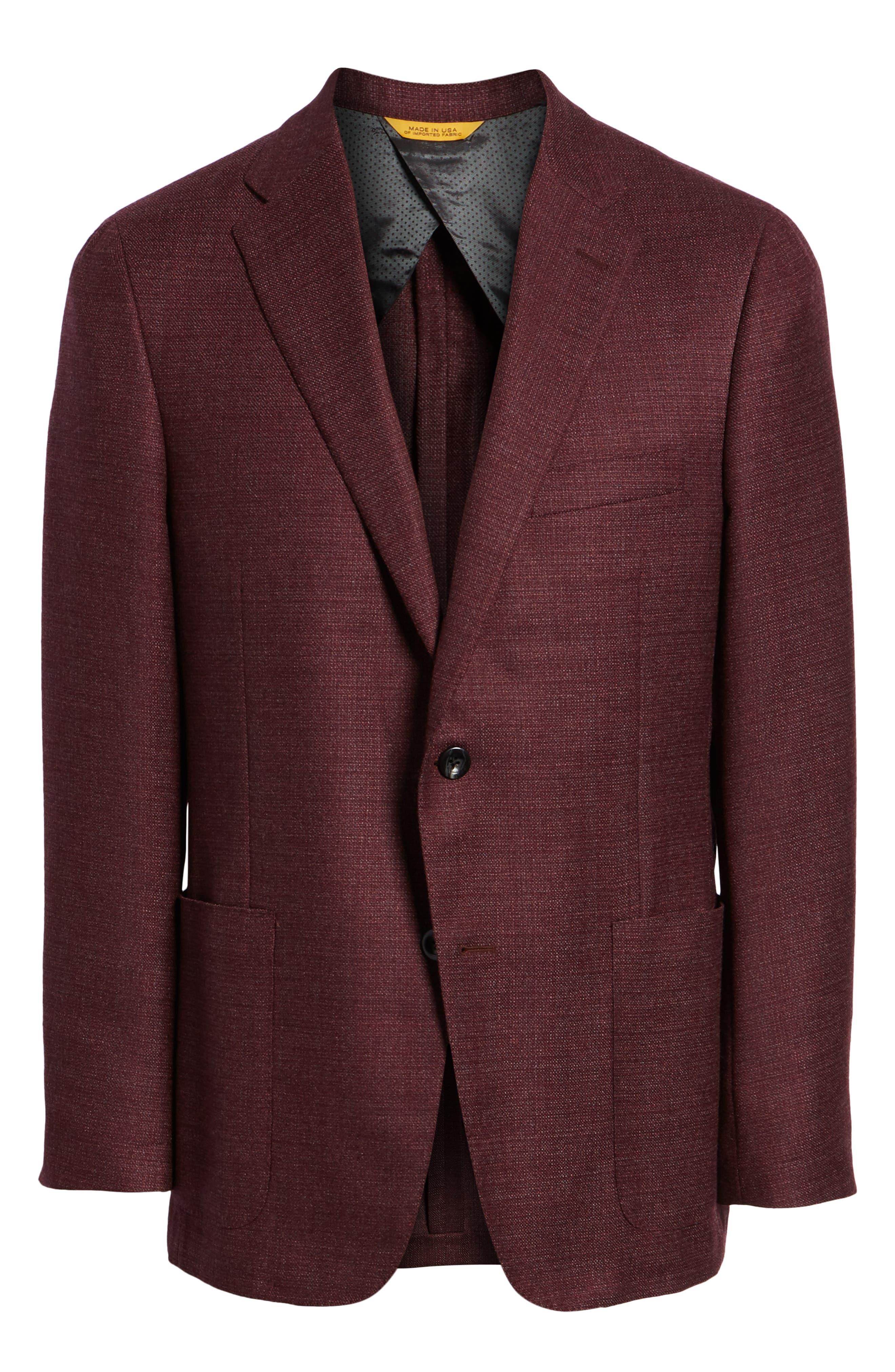 Weightless Classic Fit Wool & Silk Sport Coat,                             Alternate thumbnail 5, color,                             BURGUNDY