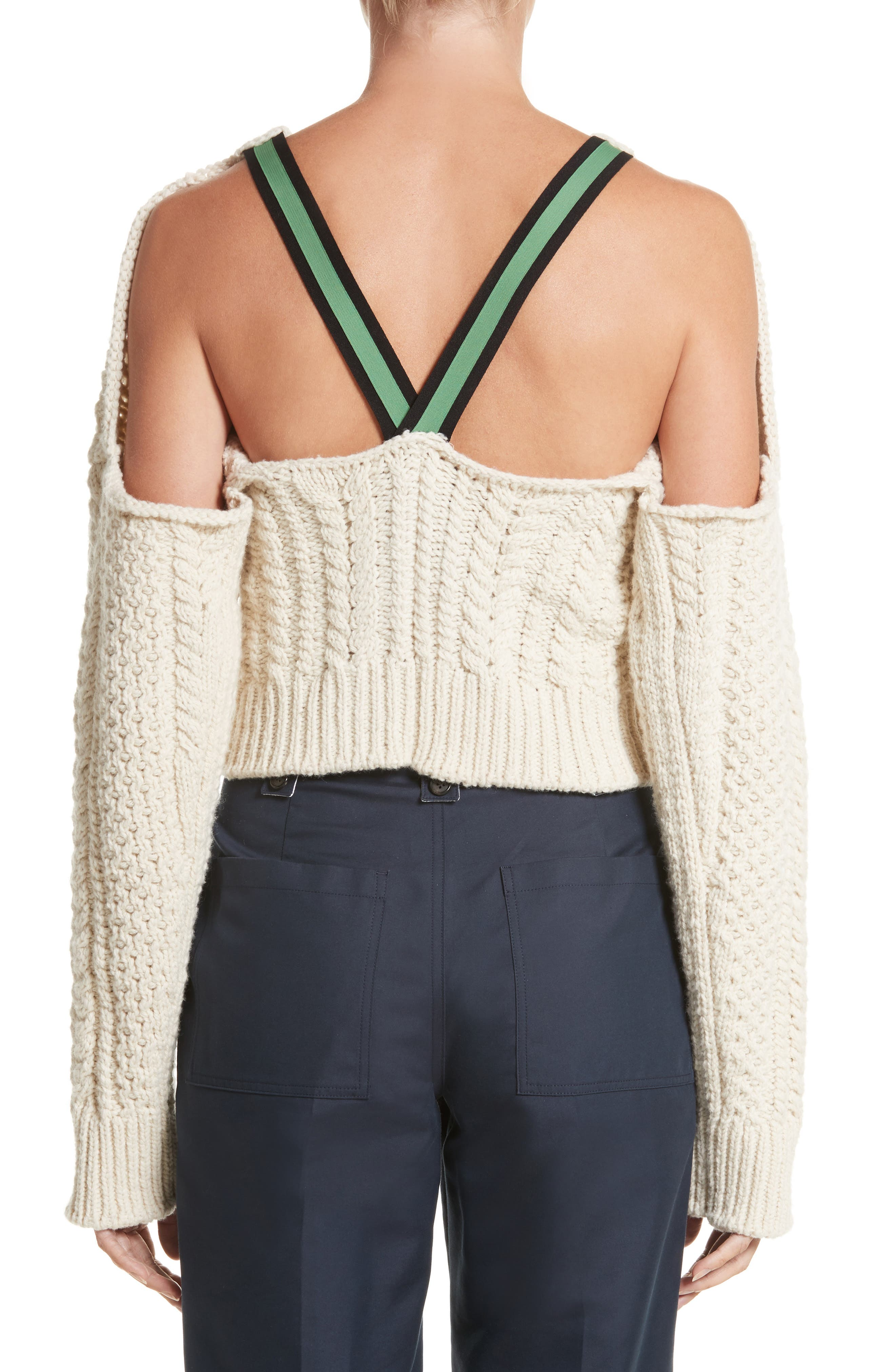 Back Strap Cable Knit Crop Sweater,                             Alternate thumbnail 2, color,                             900