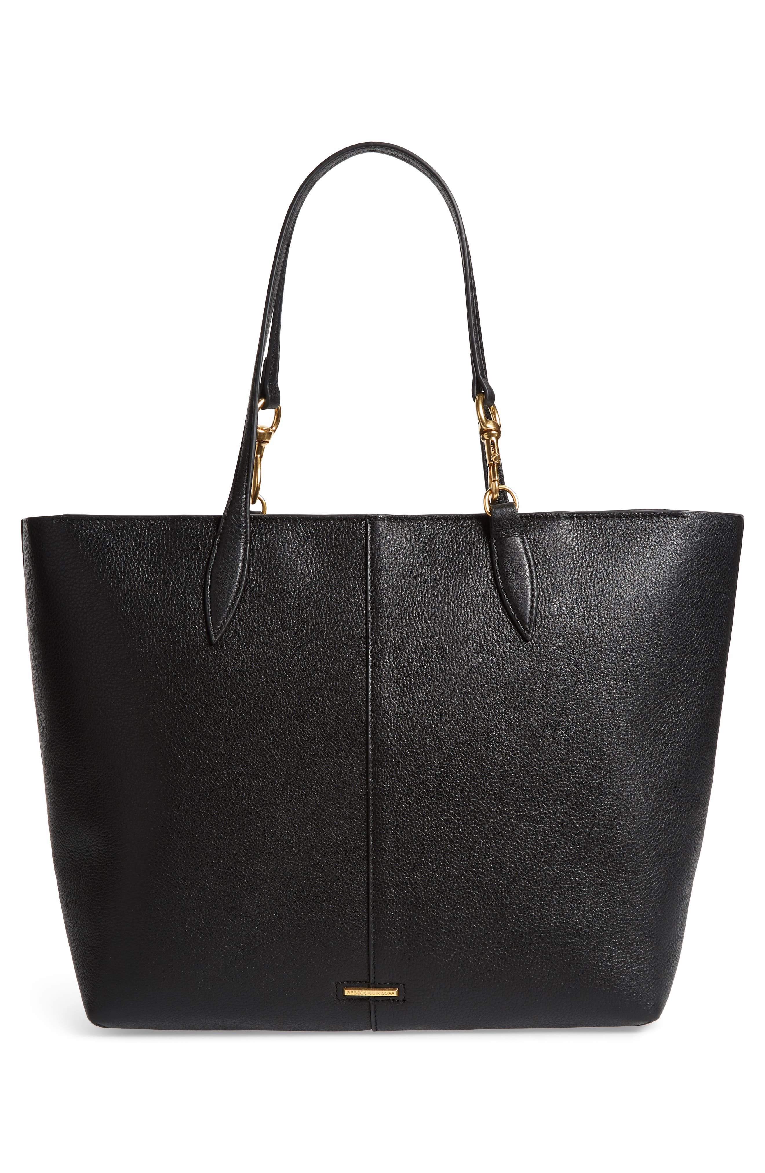 Sherry Dog Clip Leather Tote,                             Alternate thumbnail 3, color,                             BLACK/ TAUPE