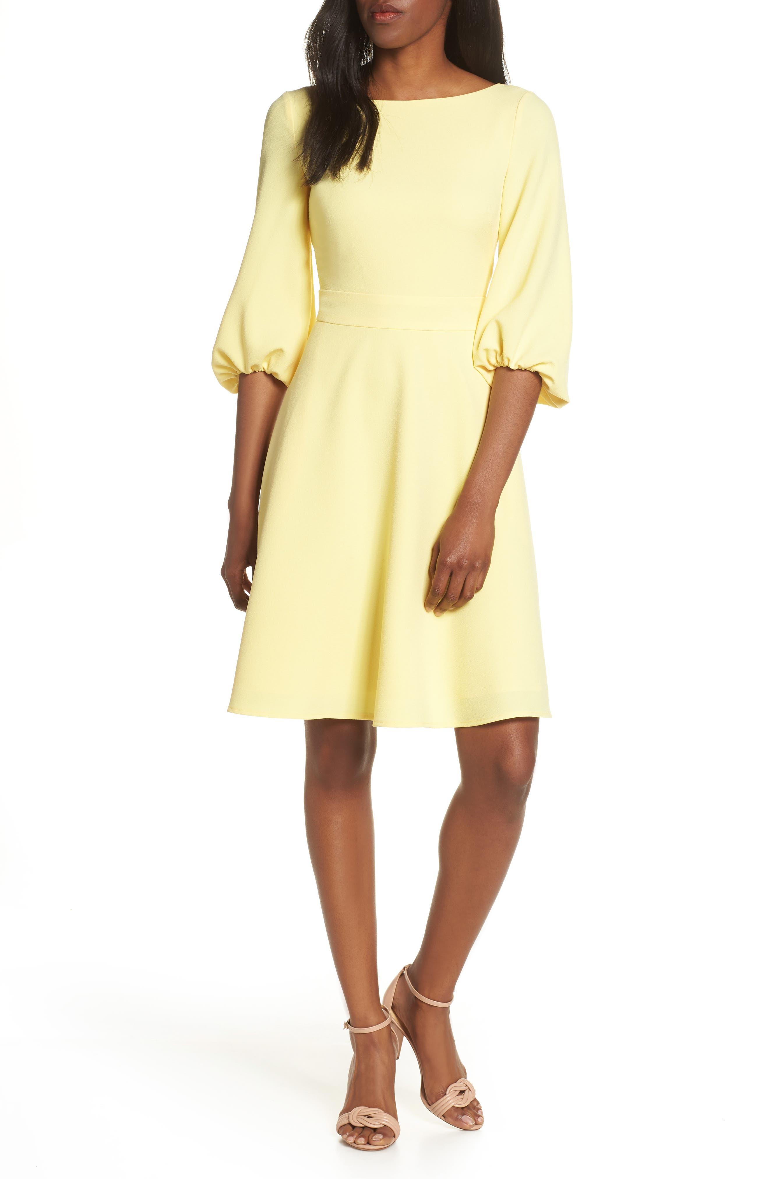 Eliza J Balloon Sleeve Fit & Flare Dress, Yellow