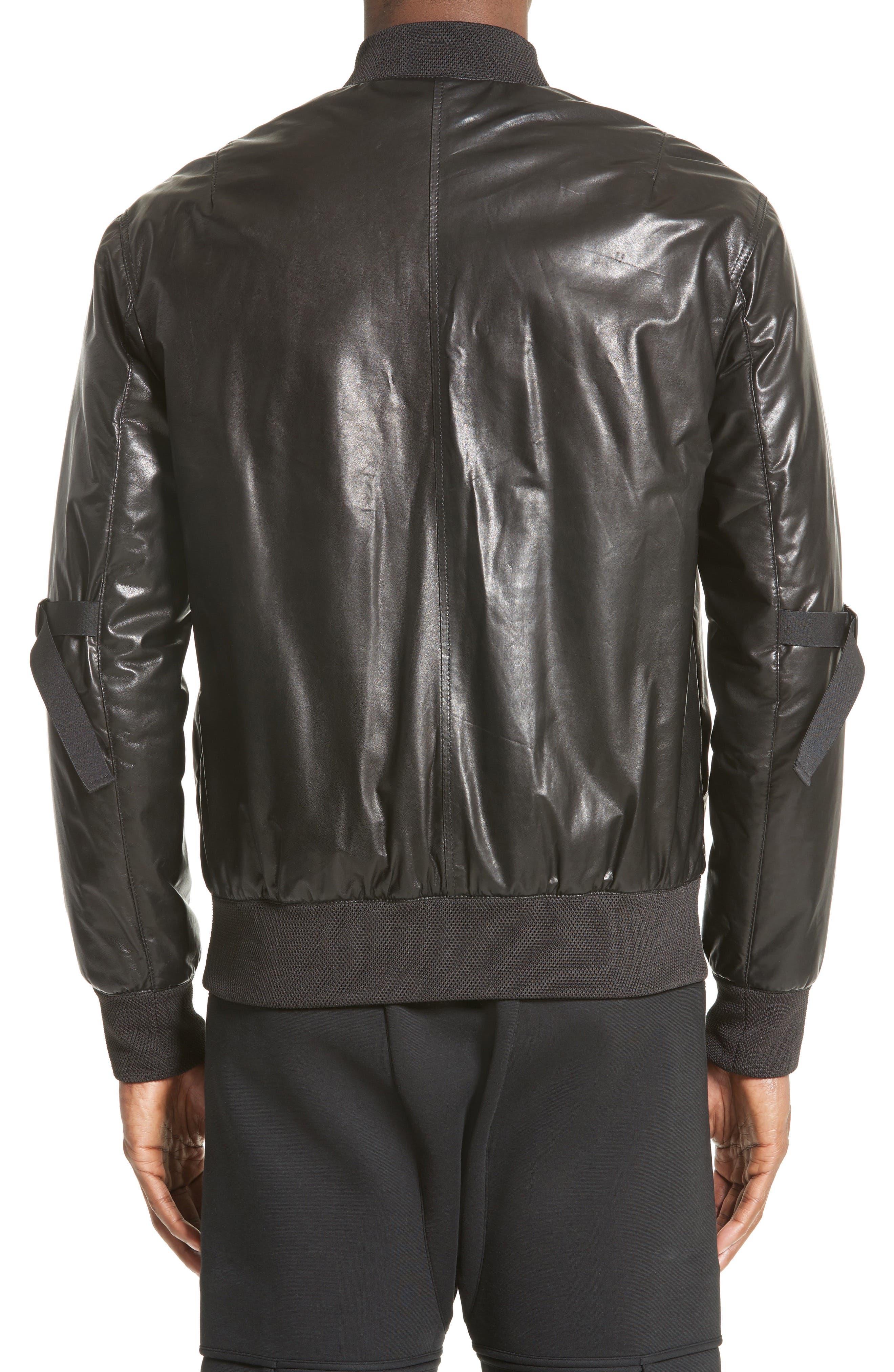 Leather Bomber Jacket,                             Alternate thumbnail 2, color,                             BLACK