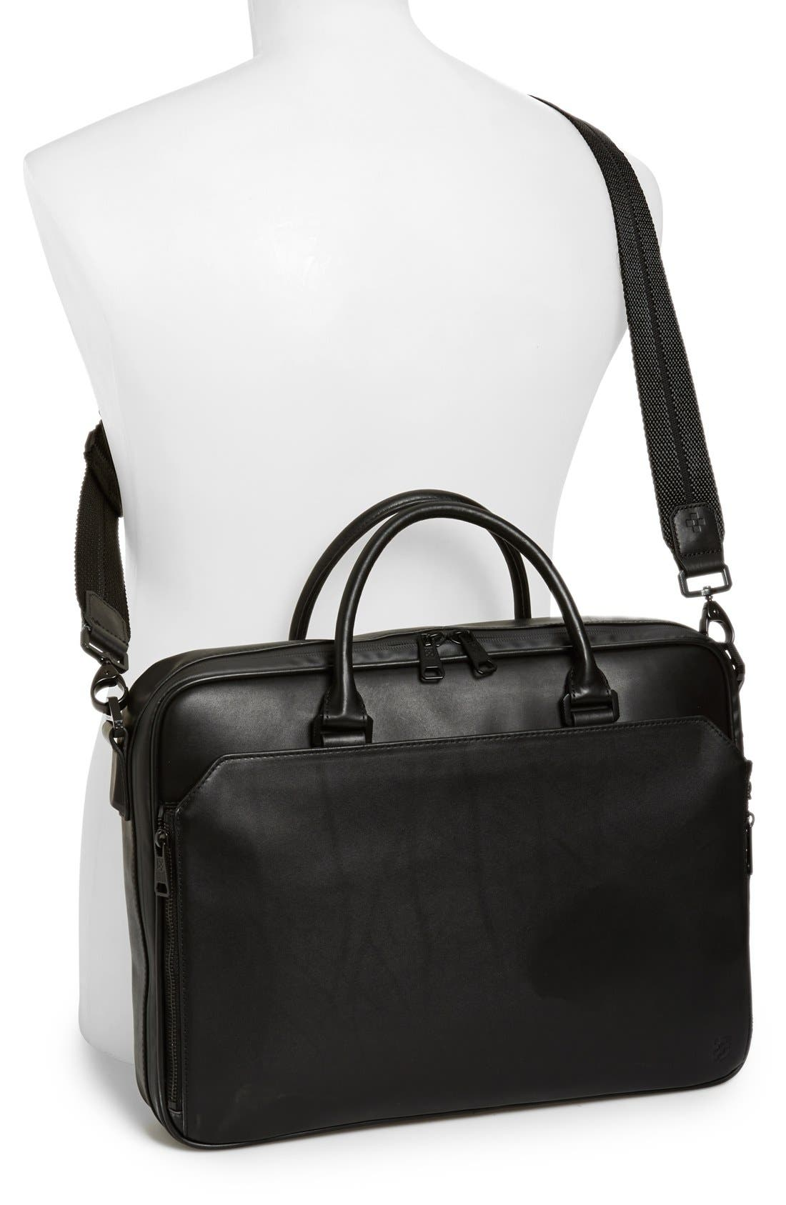 Turin Leather Briefcase,                             Alternate thumbnail 2, color,                             001