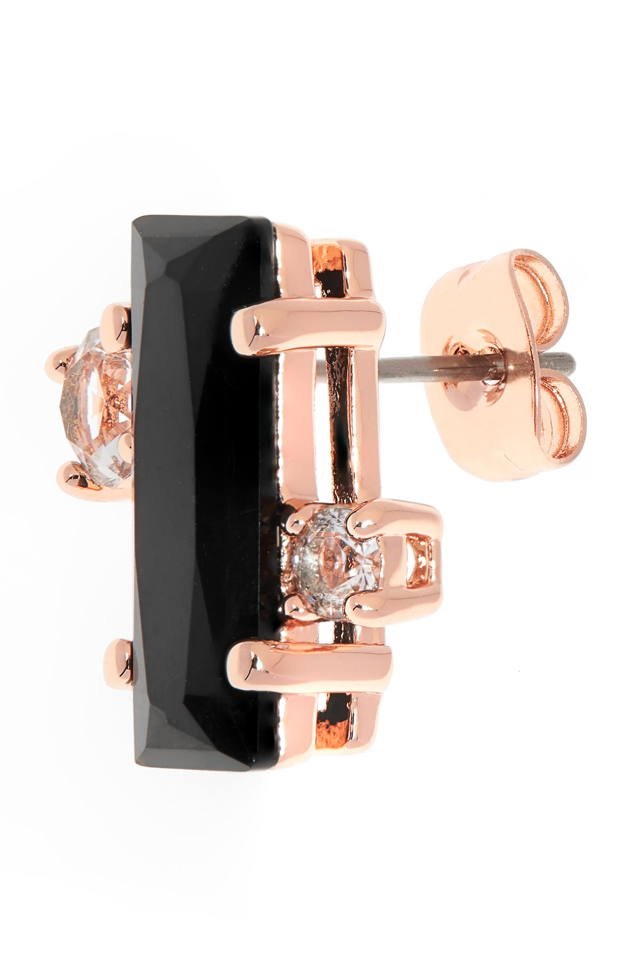 Bria Baguette Cluster Earrings,                             Alternate thumbnail 3, color,                             002