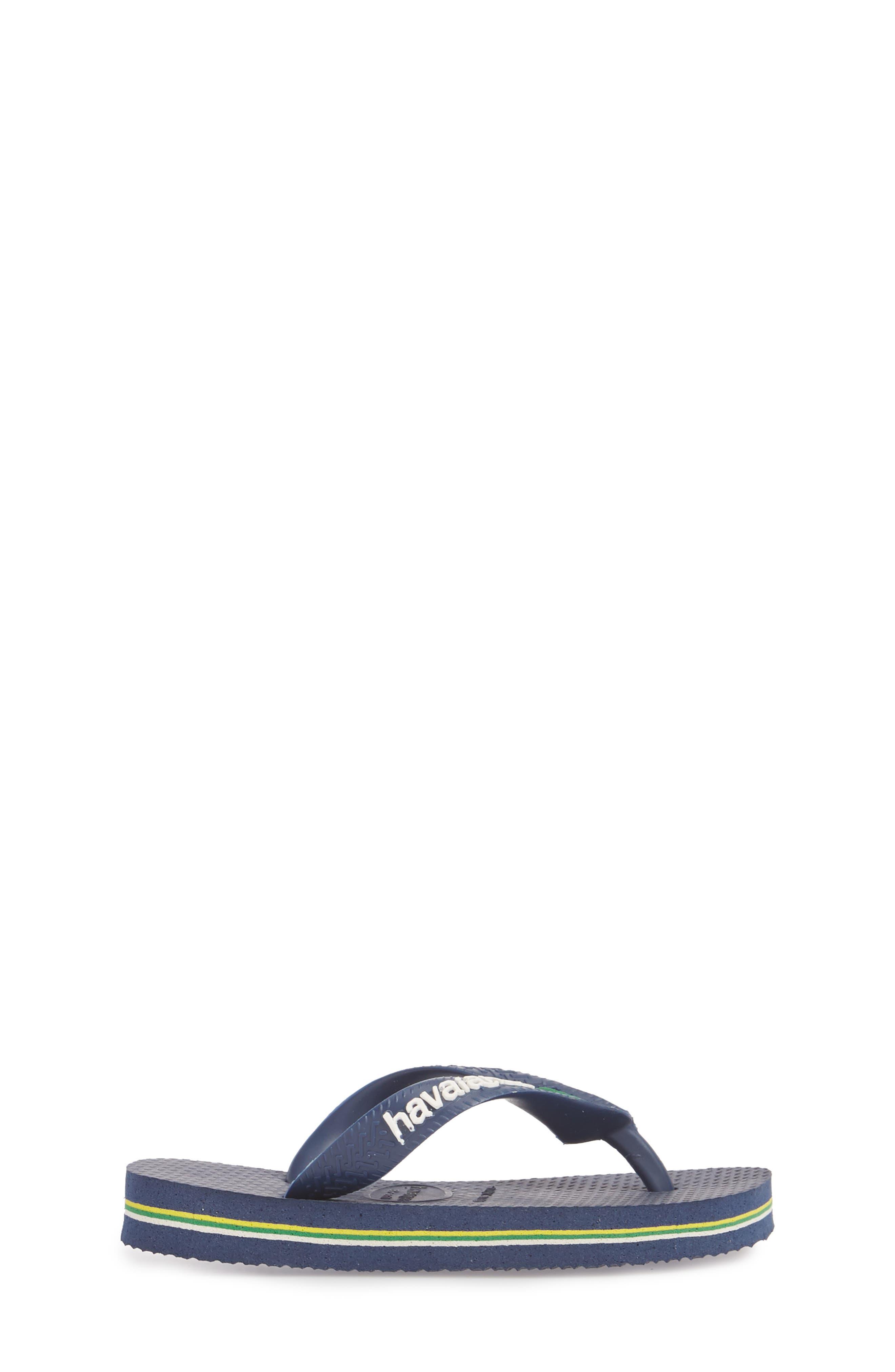 'Brazil Logo' Flip Flop,                             Alternate thumbnail 4, color,                             Navy Blue