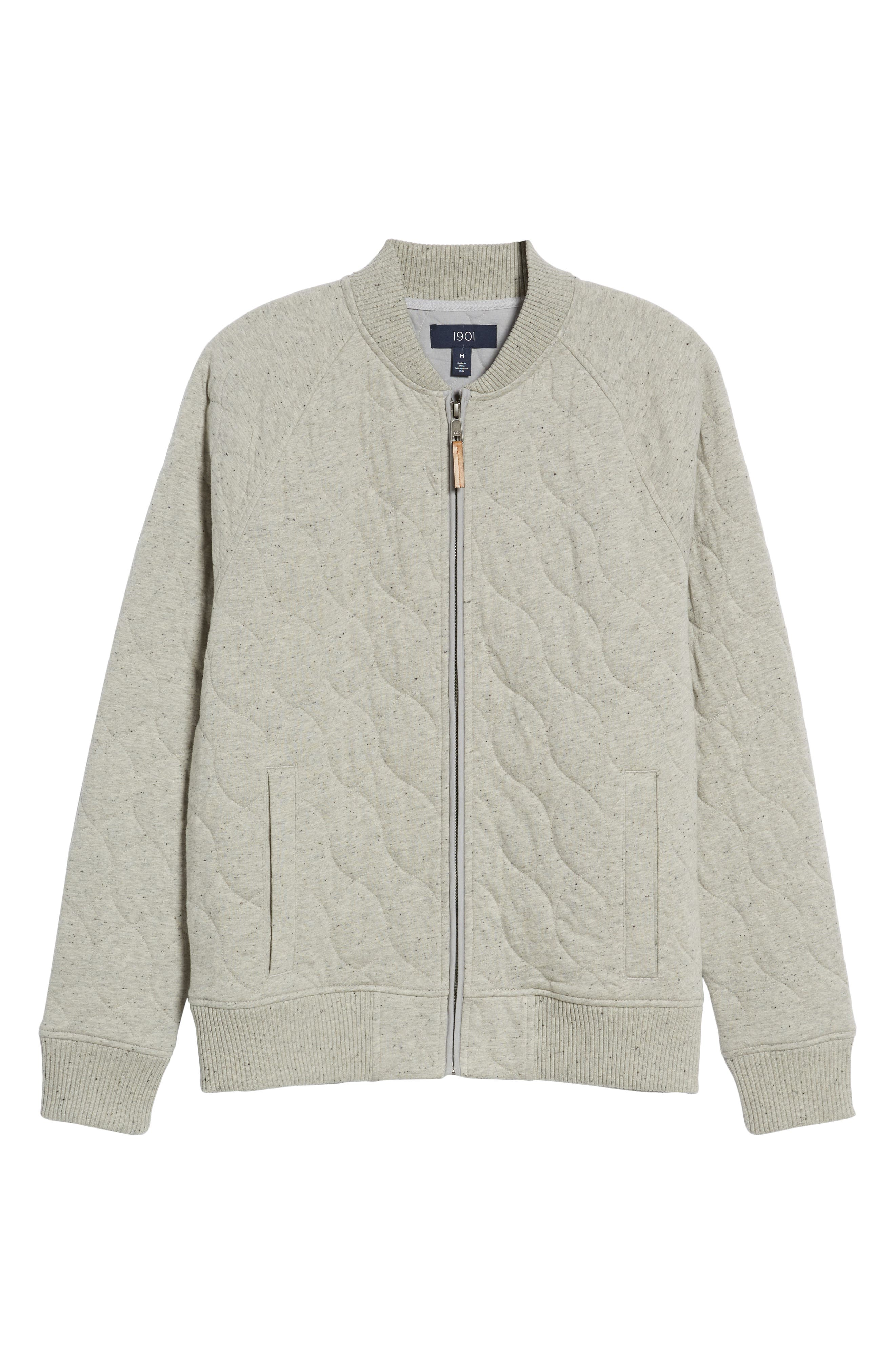 Quilted Bomber Jacket,                             Alternate thumbnail 5, color,                             GREY WEATHER NEP