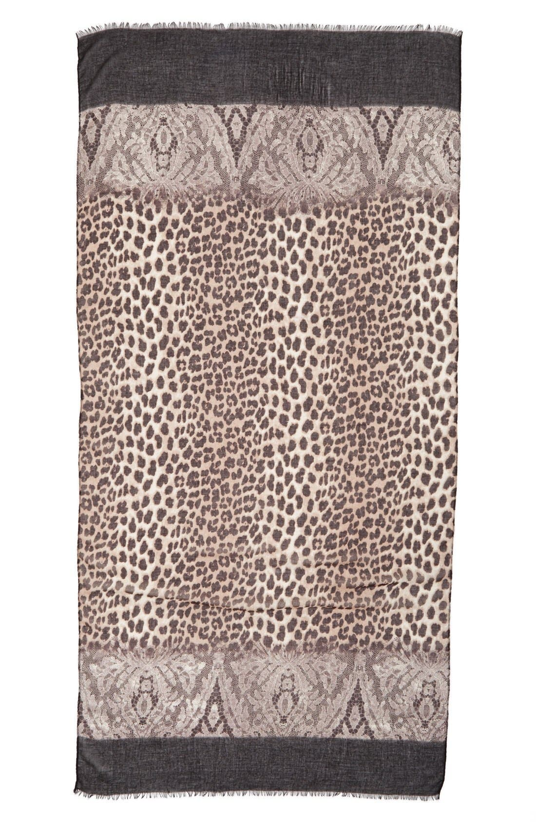 Animal Lace Scarf,                             Alternate thumbnail 2, color,                             001