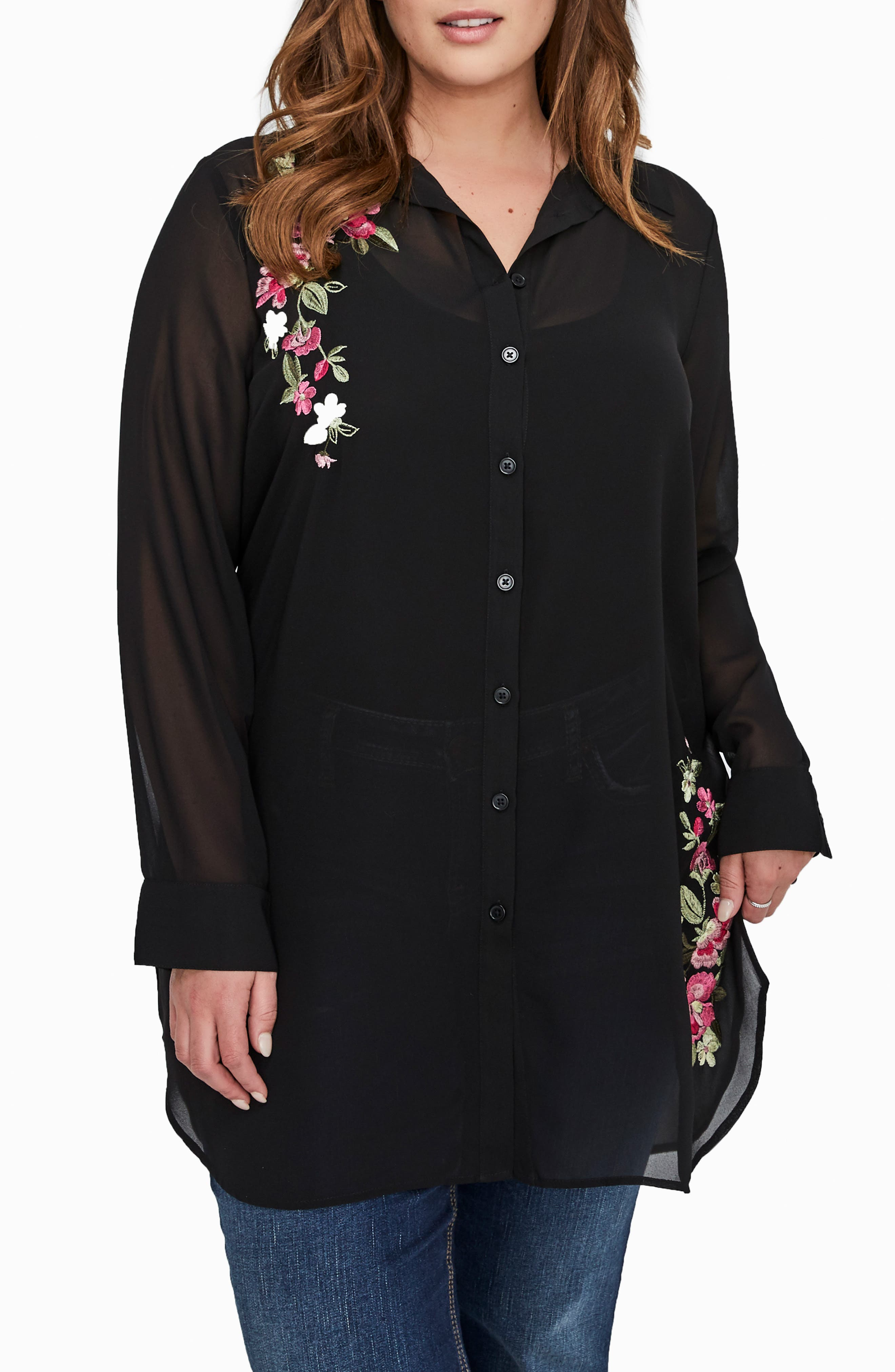 MICHEL STUDIO,                             Embroidered Flower Sheer Shirt,                             Main thumbnail 1, color,                             001