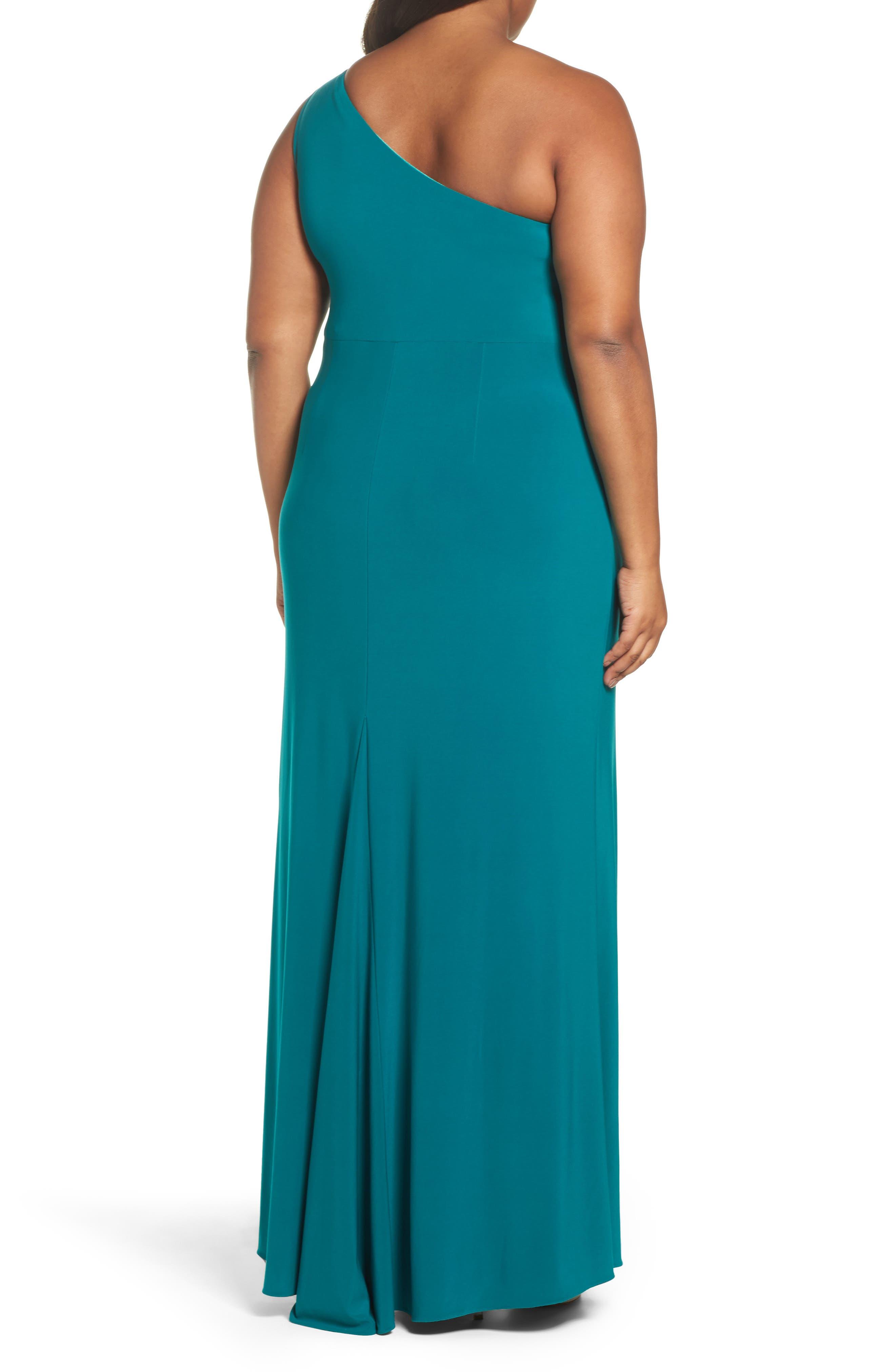 Embellished One-Shoulder Column Gown,                             Alternate thumbnail 2, color,