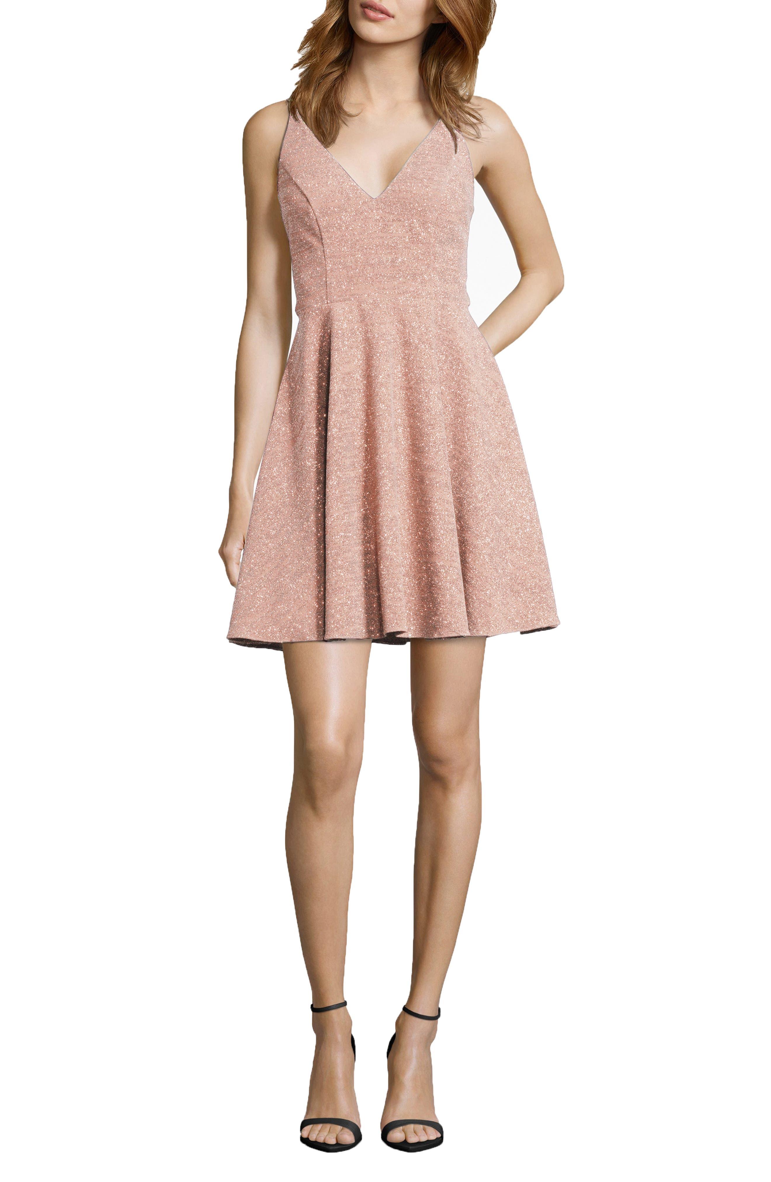 Xscape Glitter V-Neck Party Dress