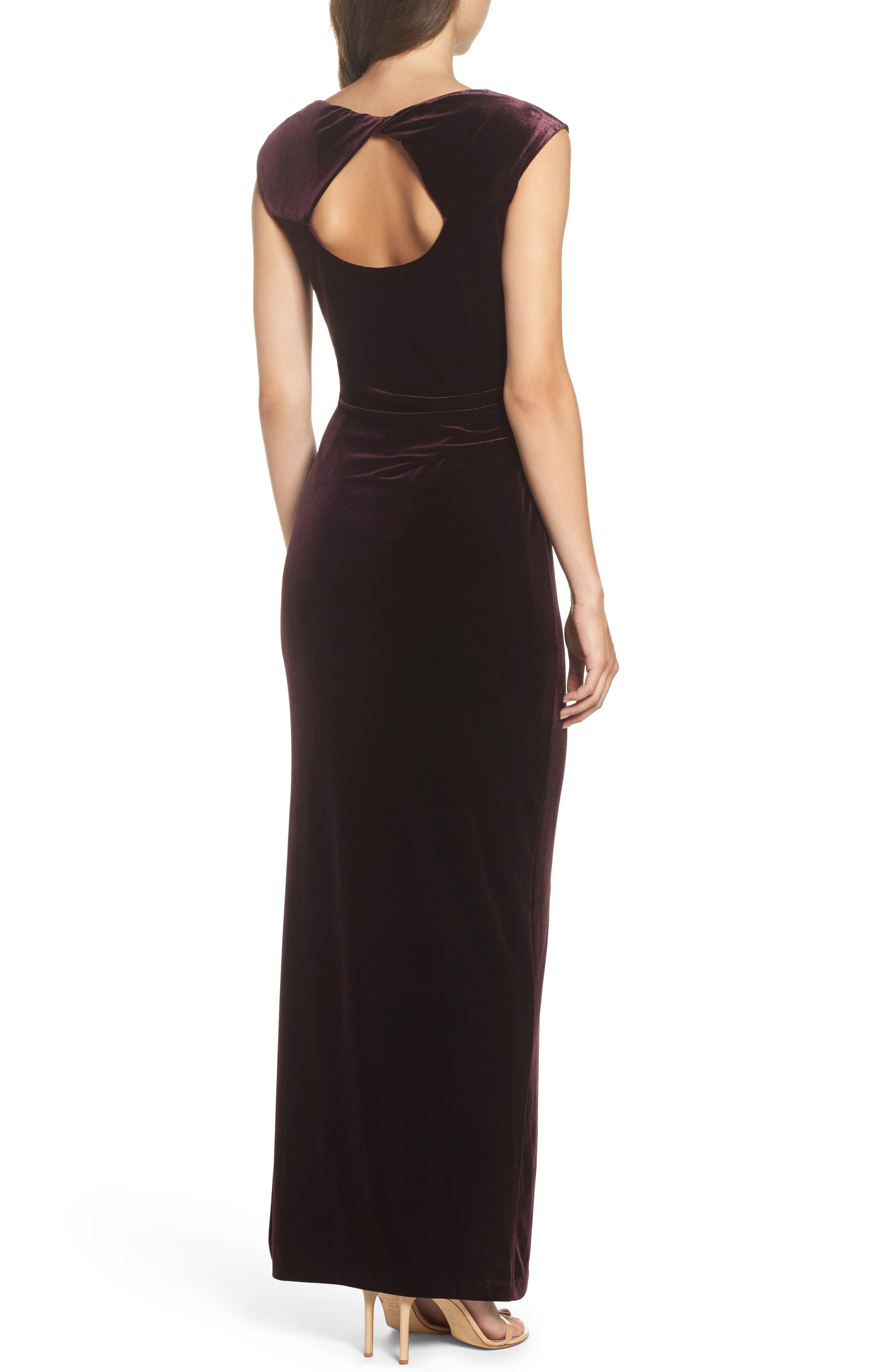 Cap Sleeve Draped Velvet Gown,                             Alternate thumbnail 2, color,                             507