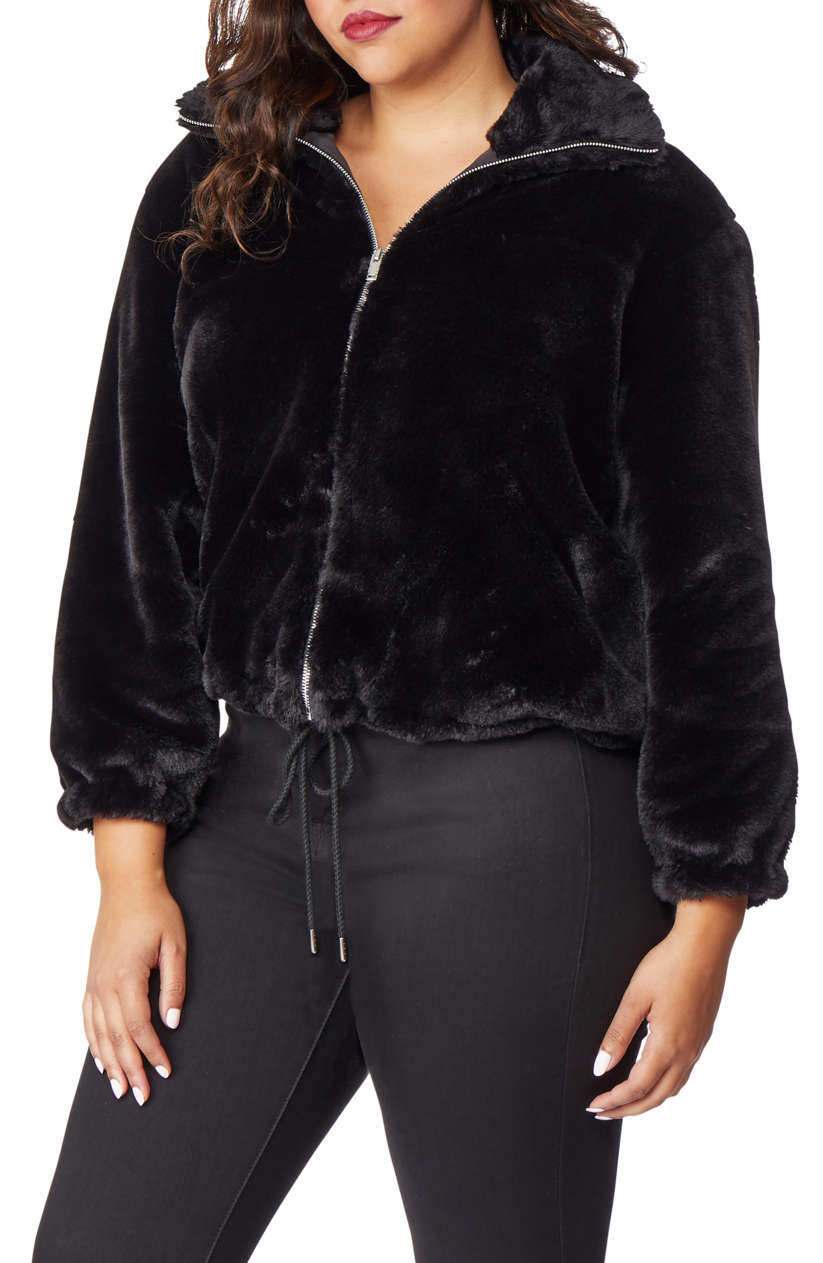 Super Soft Faux Fur Jacket,                             Alternate thumbnail 3, color,                             002