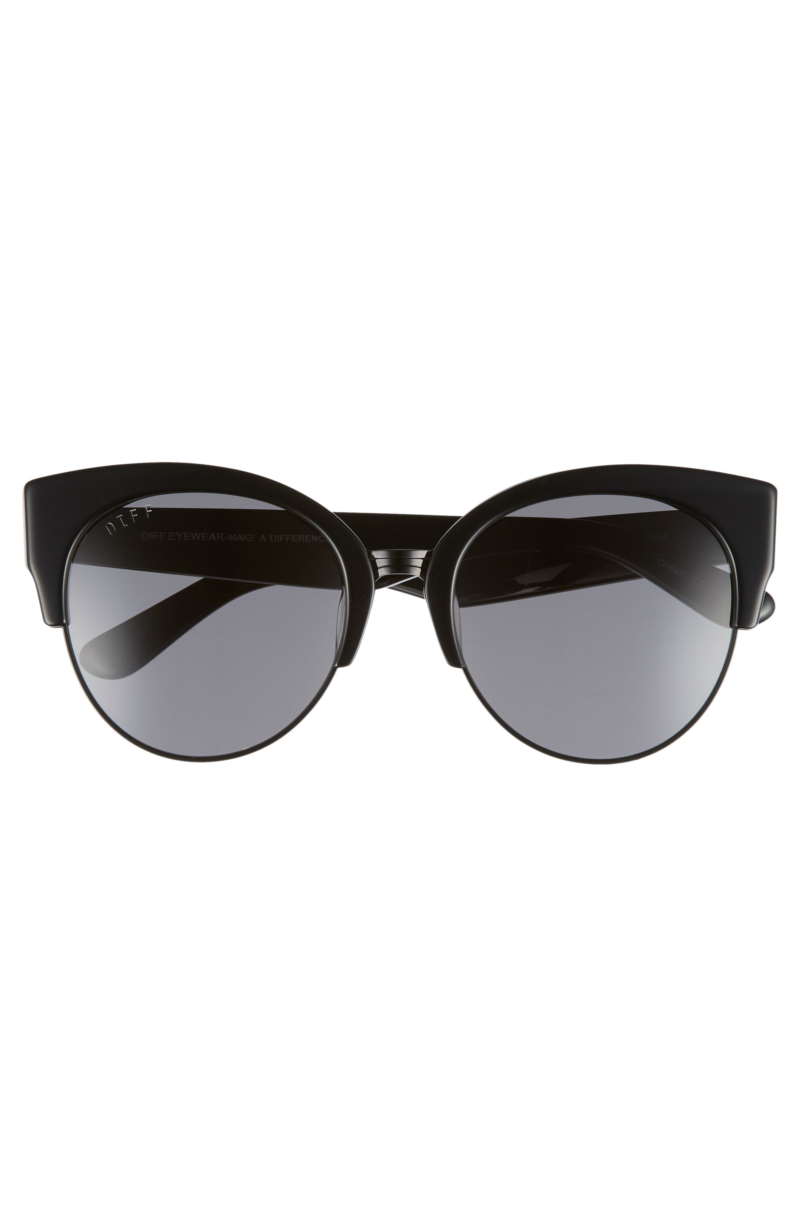 Stella 55mm Polarized Cat Eye Sunglasses,                             Alternate thumbnail 3, color,                             BLACK/ GREY