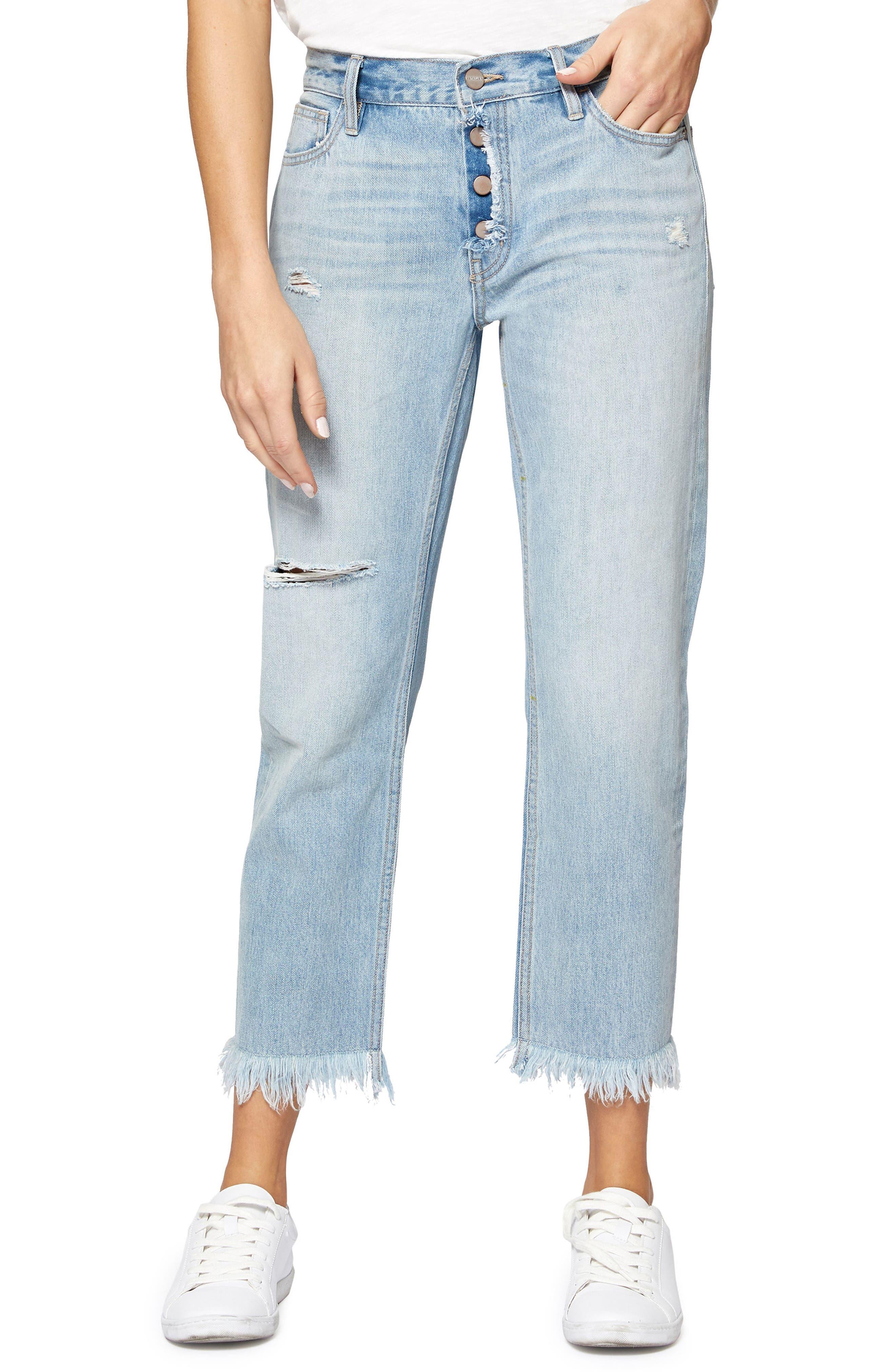 Straight Leg Fray Hem Boyfriend Jeans,                             Main thumbnail 1, color,                             451