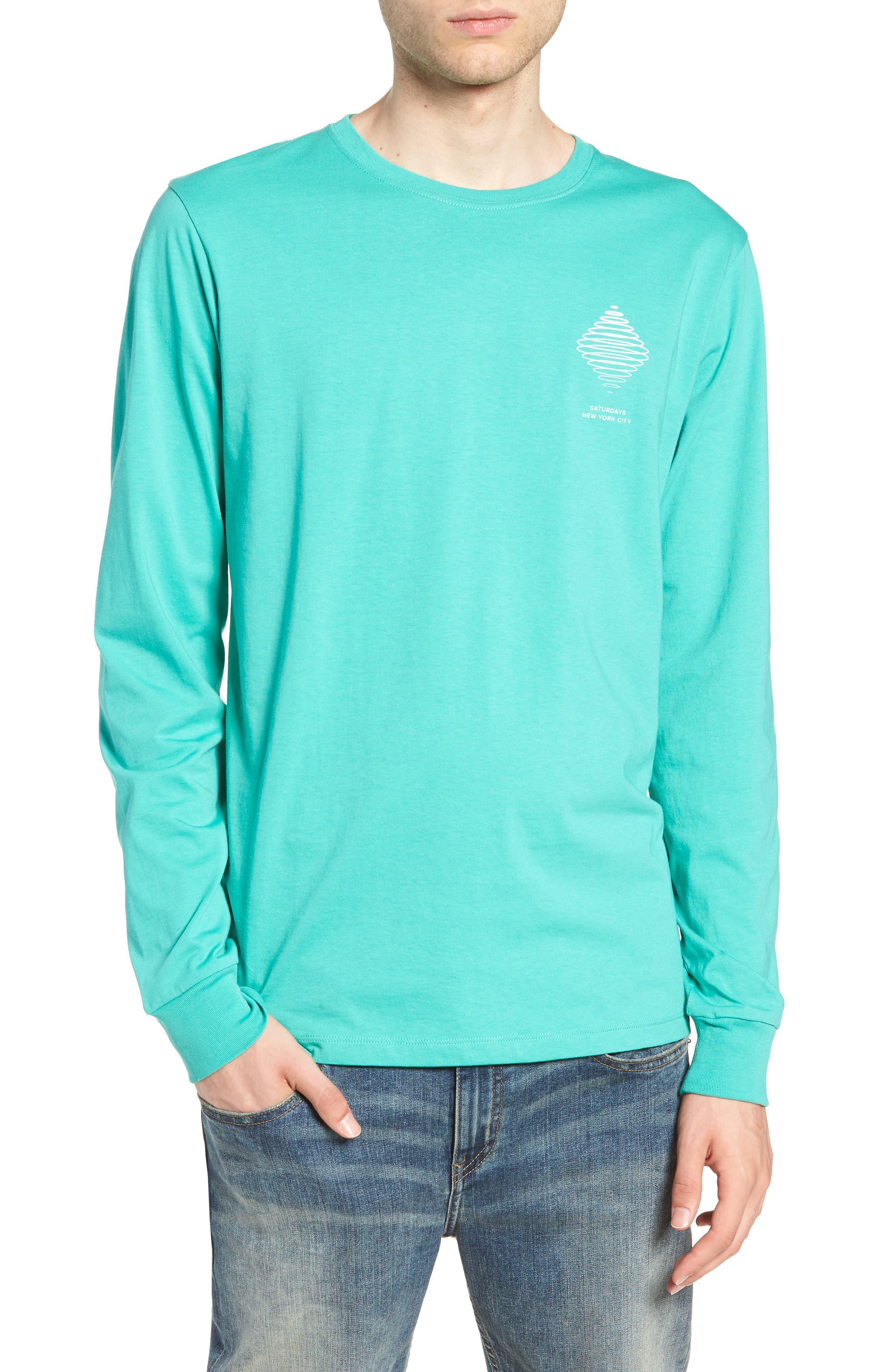 Diamond Spiral Long Sleeve T-Shirt,                         Main,                         color, SEAFOAM GREEN