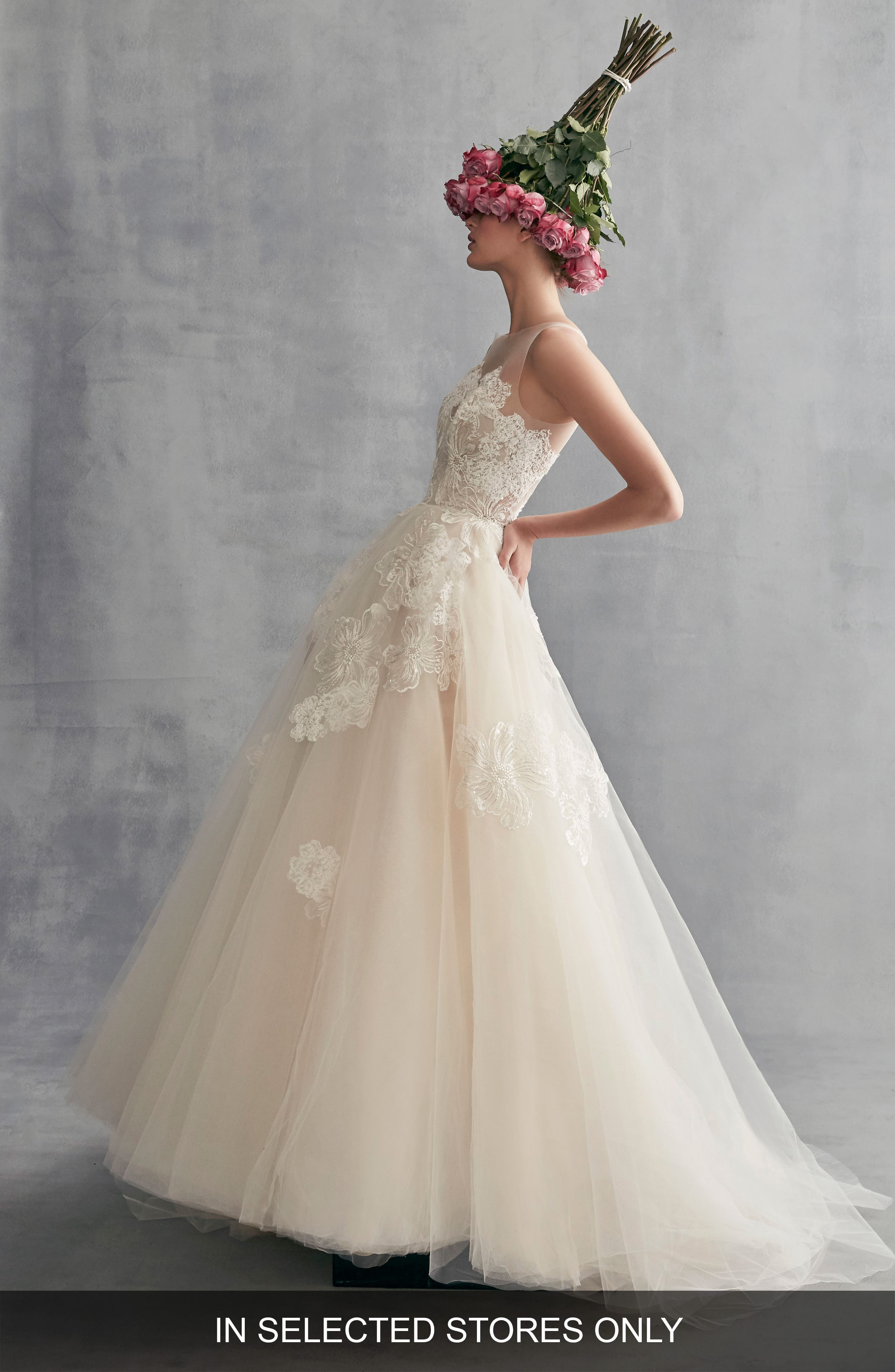Peony Embroidered Tulle Ballgown,                             Main thumbnail 1, color,                             CAMEO PINK