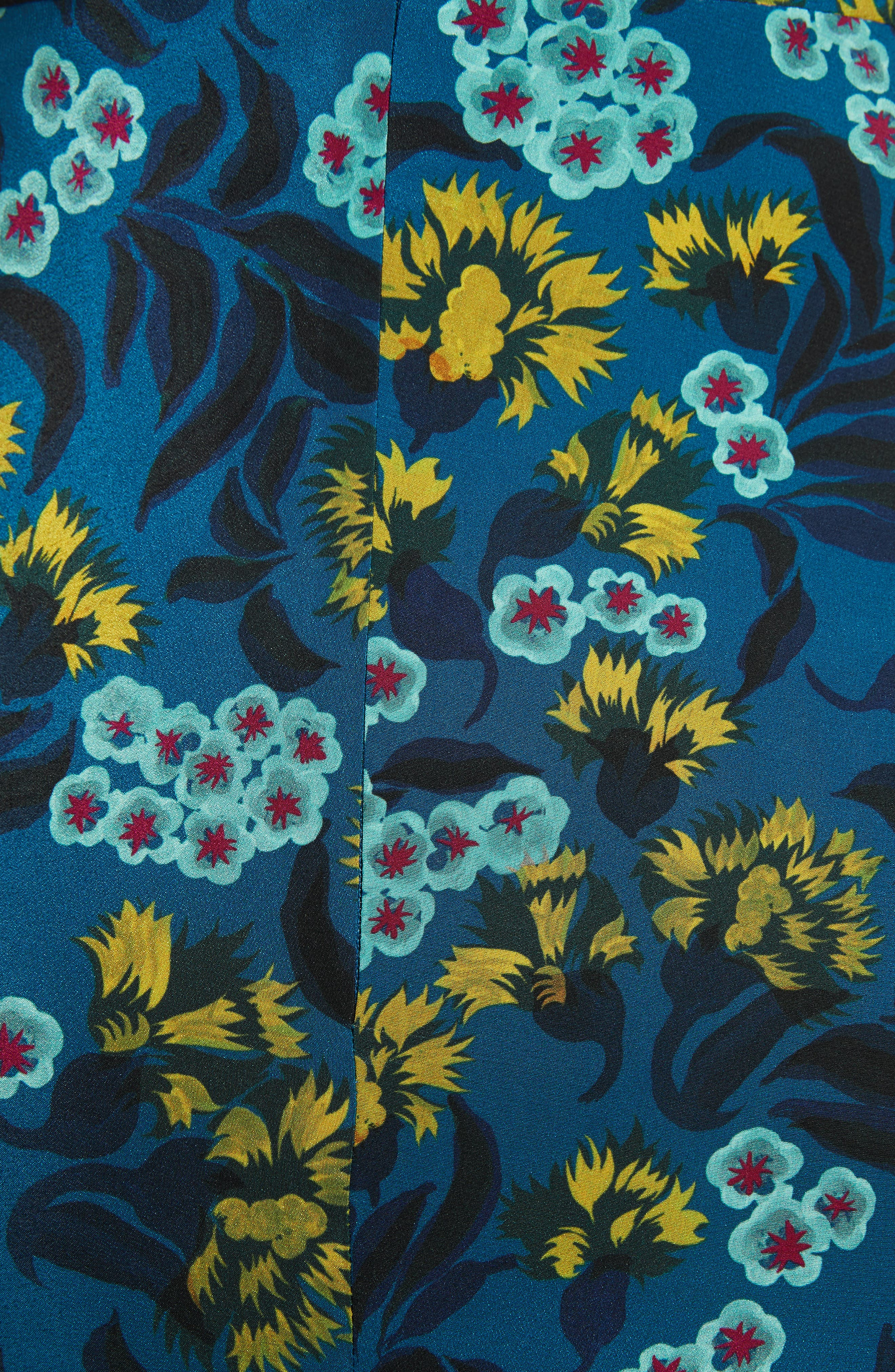 Daphne Floral Print Dress,                             Alternate thumbnail 6, color,                             TEAL AZALEA