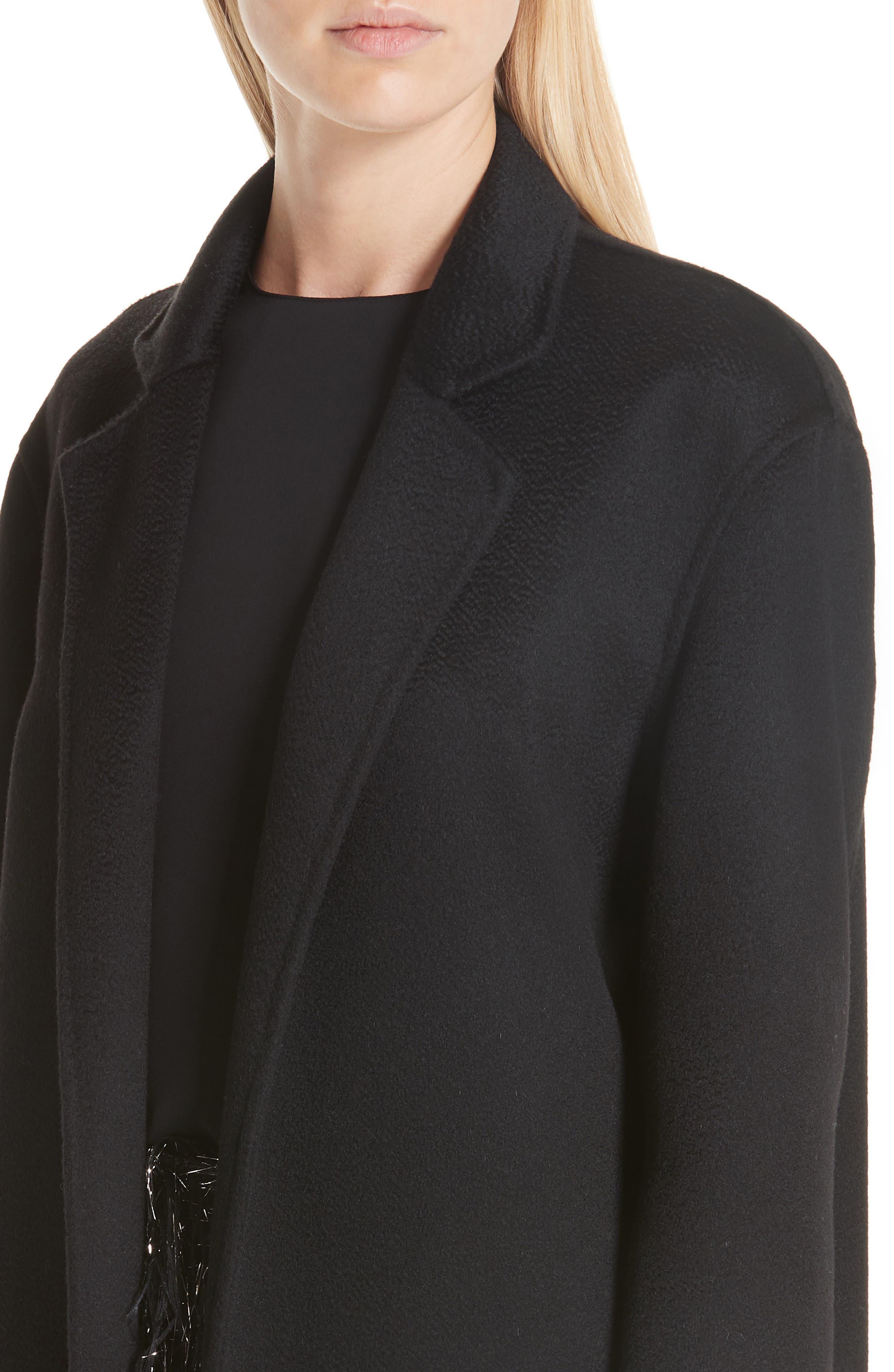 MANSUR GAVRIEL,                             Longline Cashmere Coat,                             Alternate thumbnail 4, color,                             001