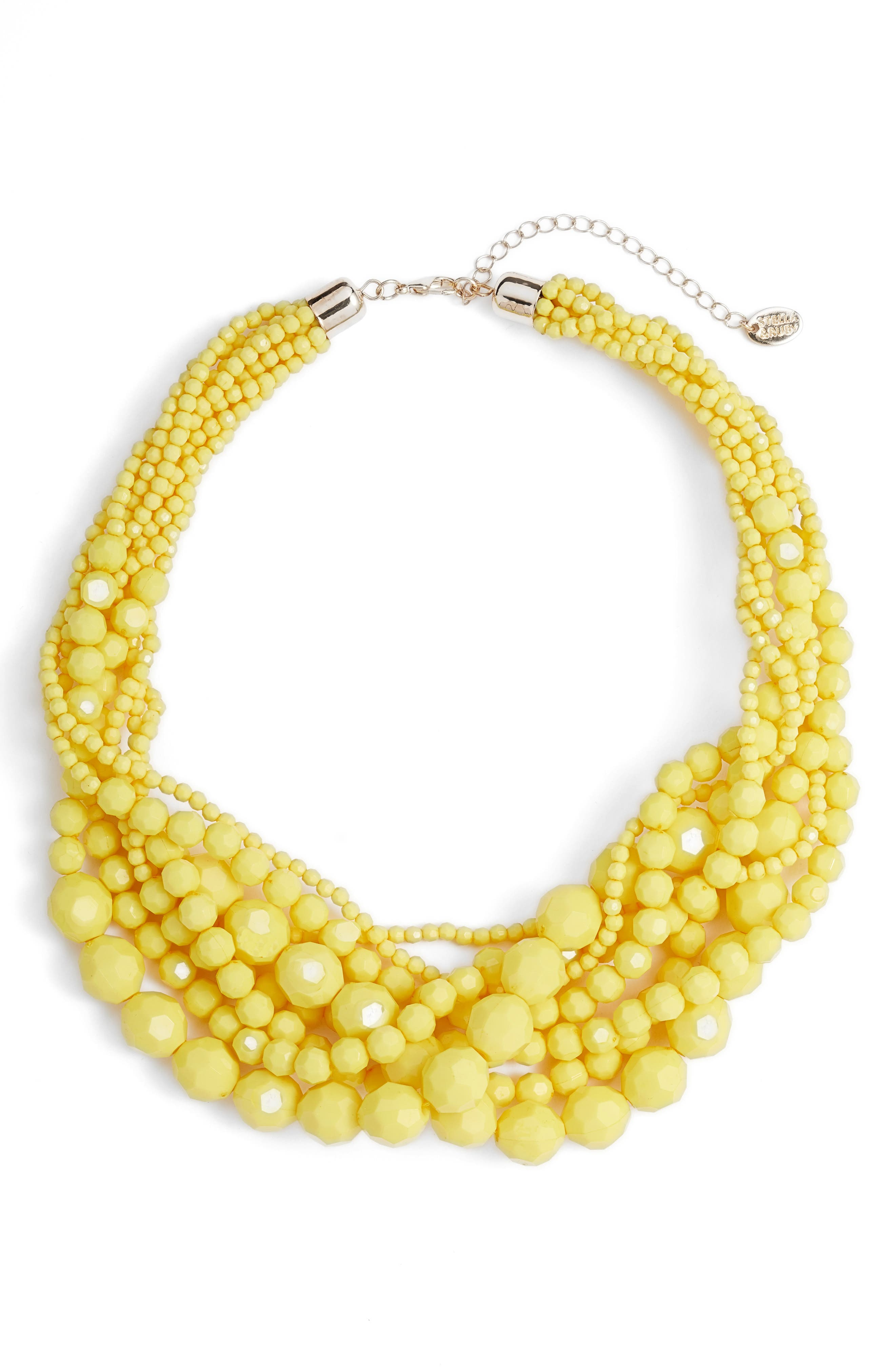 Multi Strand Beaded Necklace,                         Main,                         color, GOLD/ YELLOW