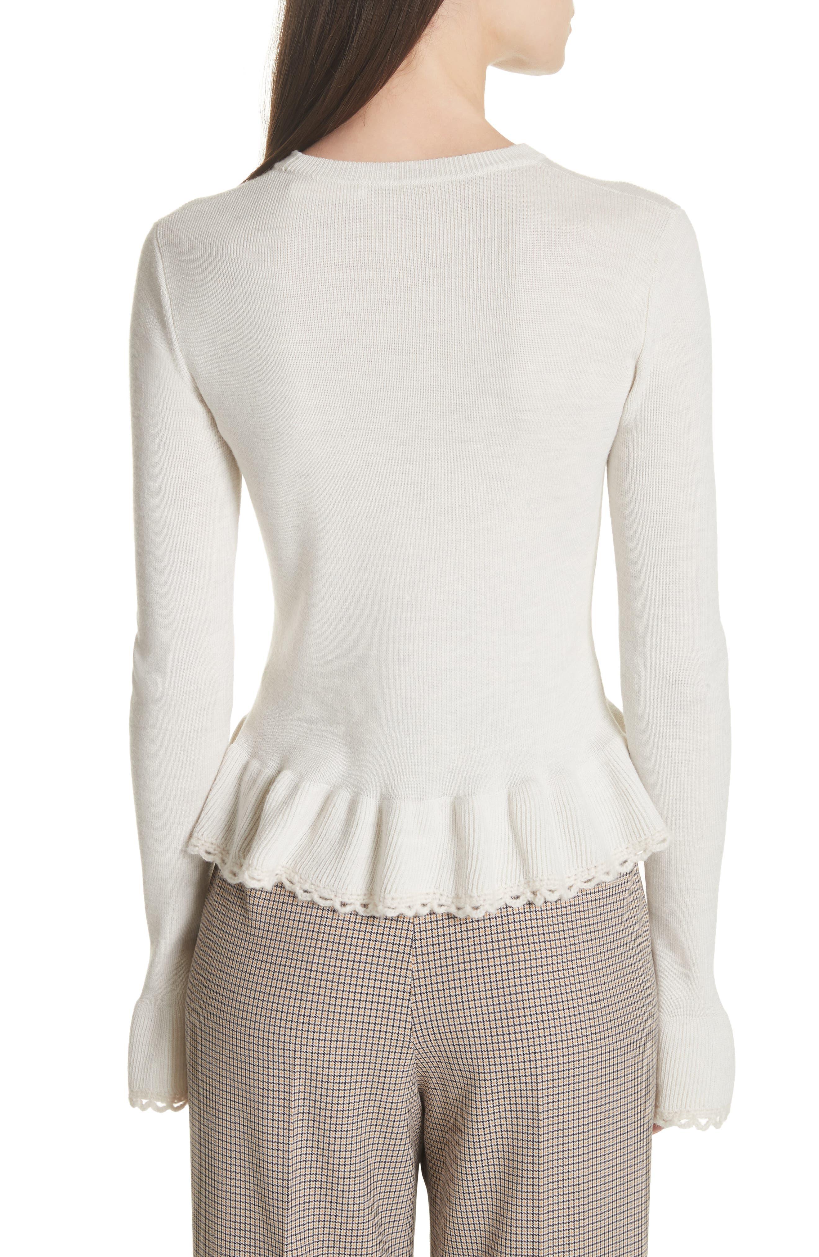 Peplum Wool Sweater,                             Alternate thumbnail 2, color,                             MISTY IVORY