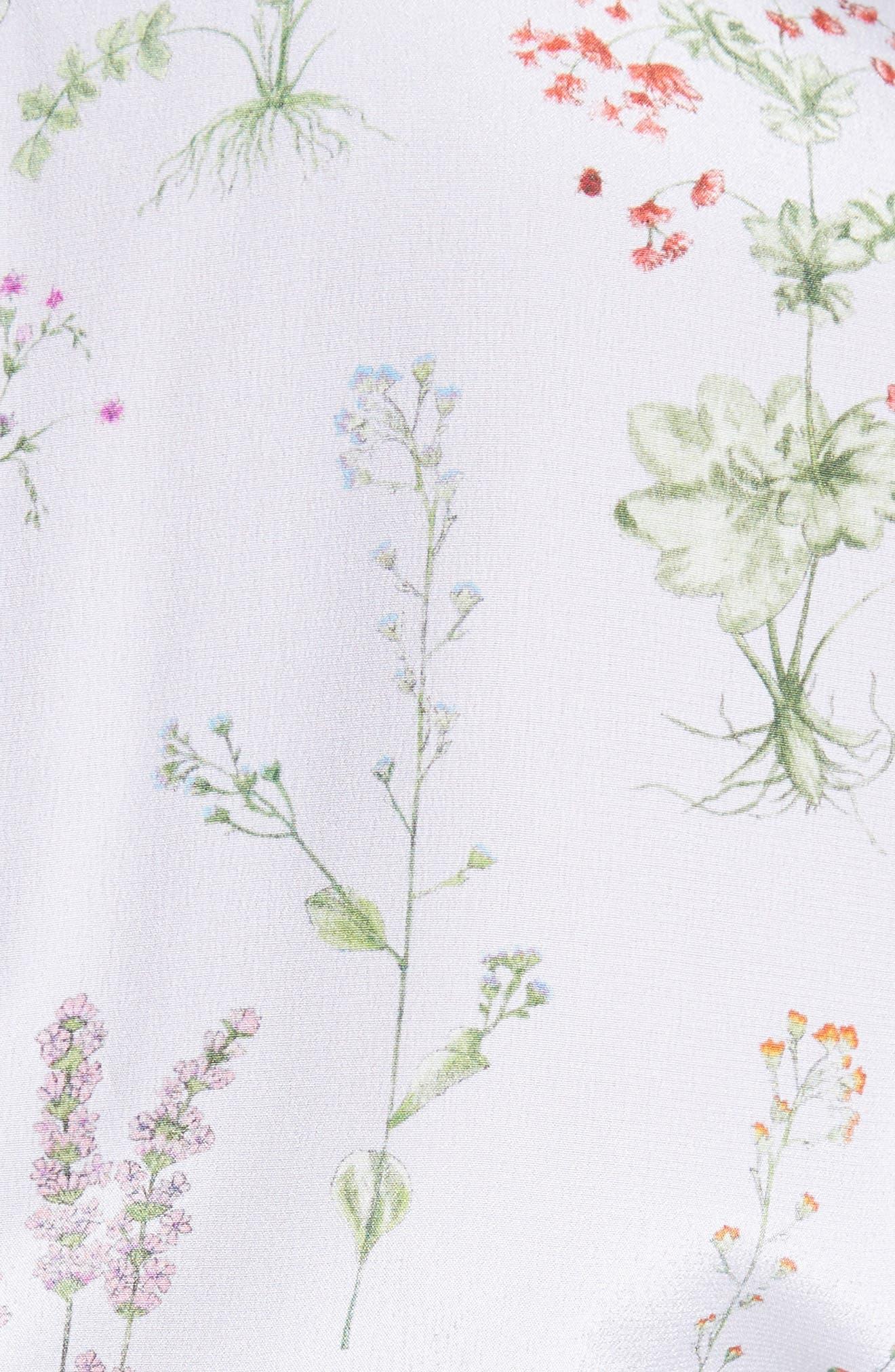 Sylvia Floral Silk A-Line Dress,                             Alternate thumbnail 6, color,                             582