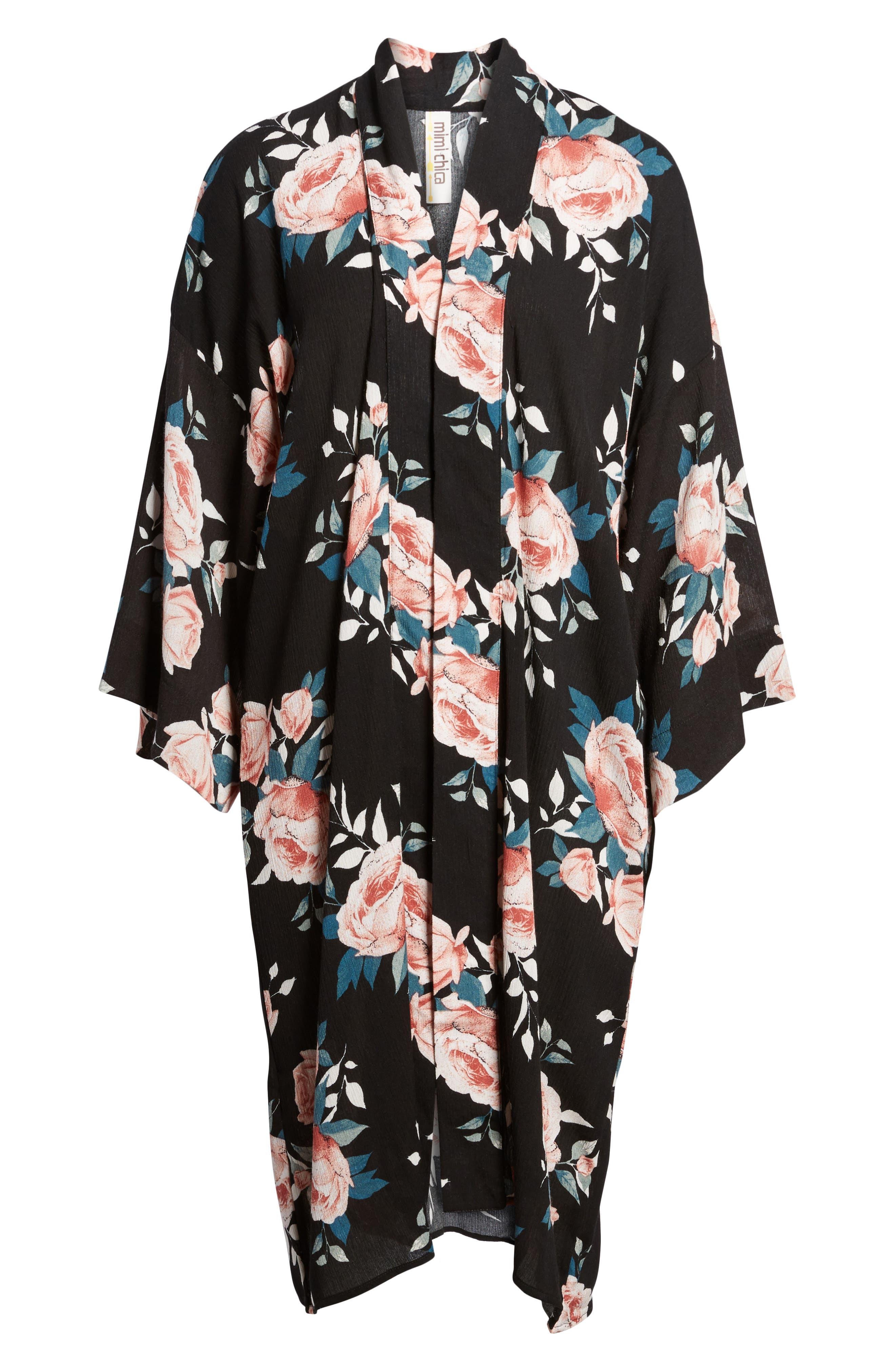 Rose Print Kimono,                             Alternate thumbnail 5, color,