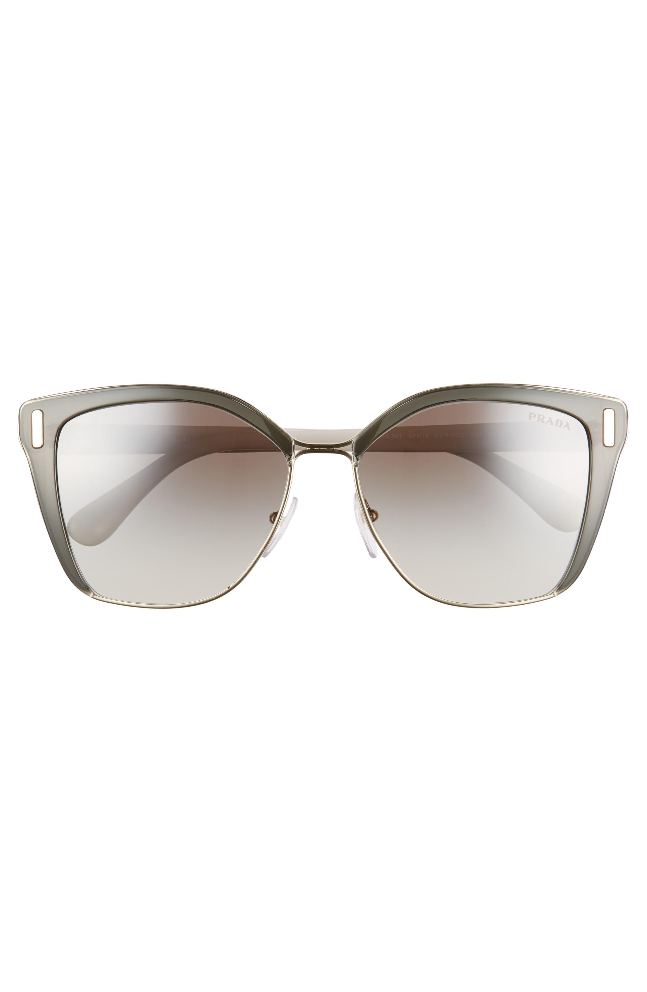 54mm Gradient Geometric Sunglasses,                             Alternate thumbnail 3, color,                             GREY/ GOLD GRADIENT MIRROR