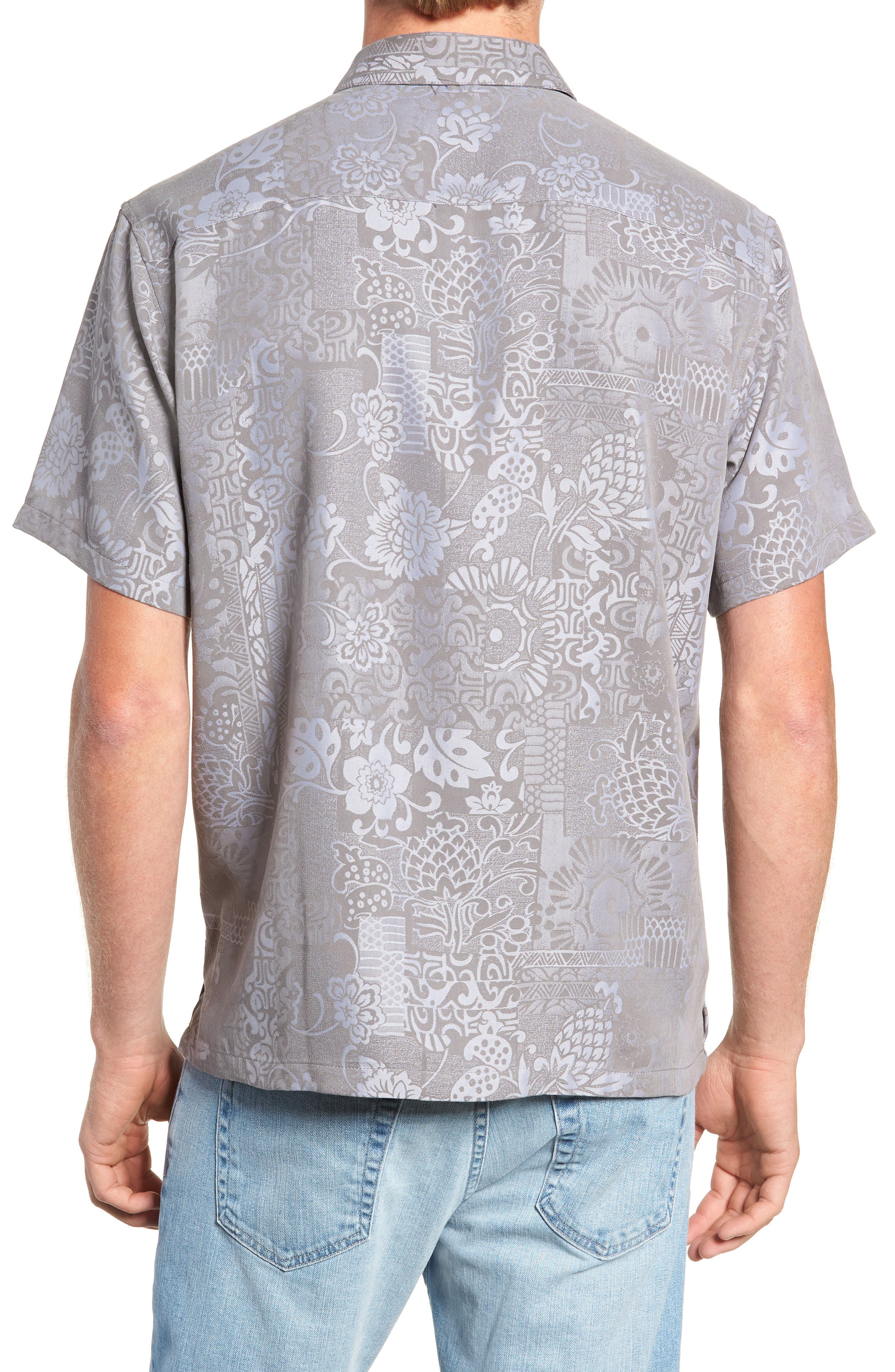 Apana Classic Fit Jacquard Sport Shirt,                             Alternate thumbnail 3, color,                             CHARCOAL