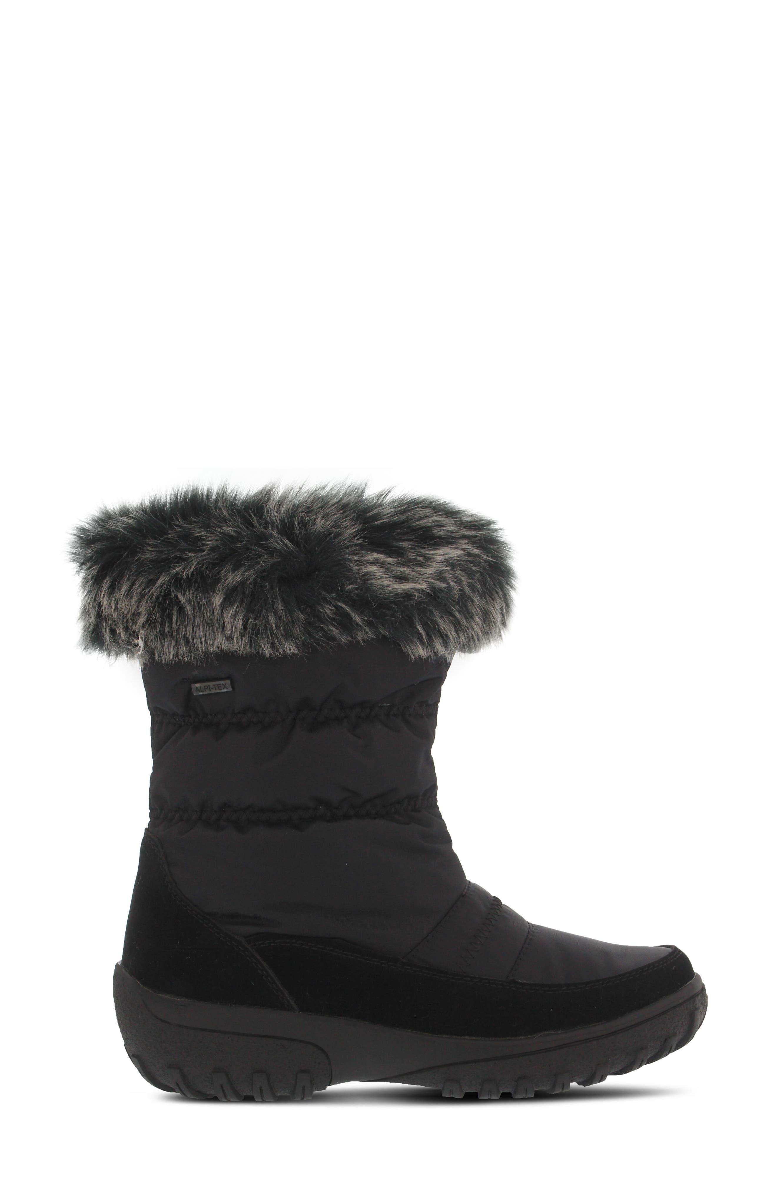 Rolim Faux Fur Trim Waterproof Boot,                             Alternate thumbnail 3, color,                             BLACK