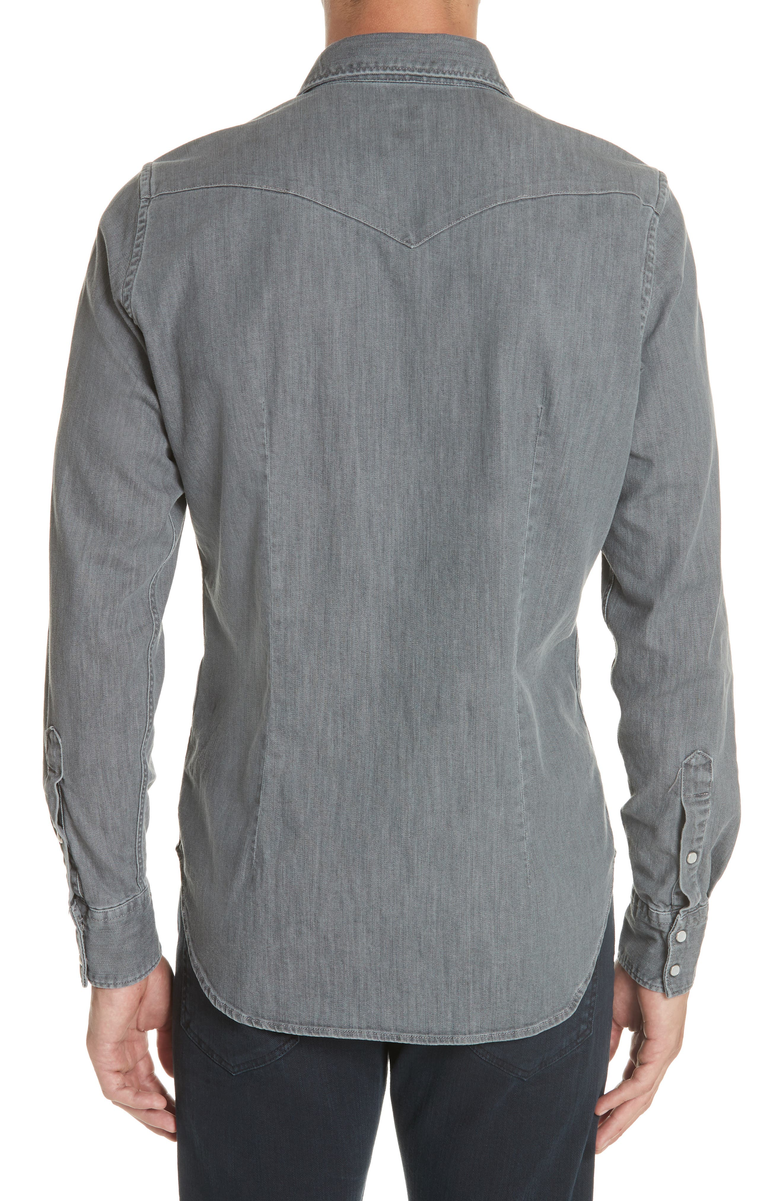 Slim Fit Denim Western Shirt,                             Alternate thumbnail 2, color,                             GREY
