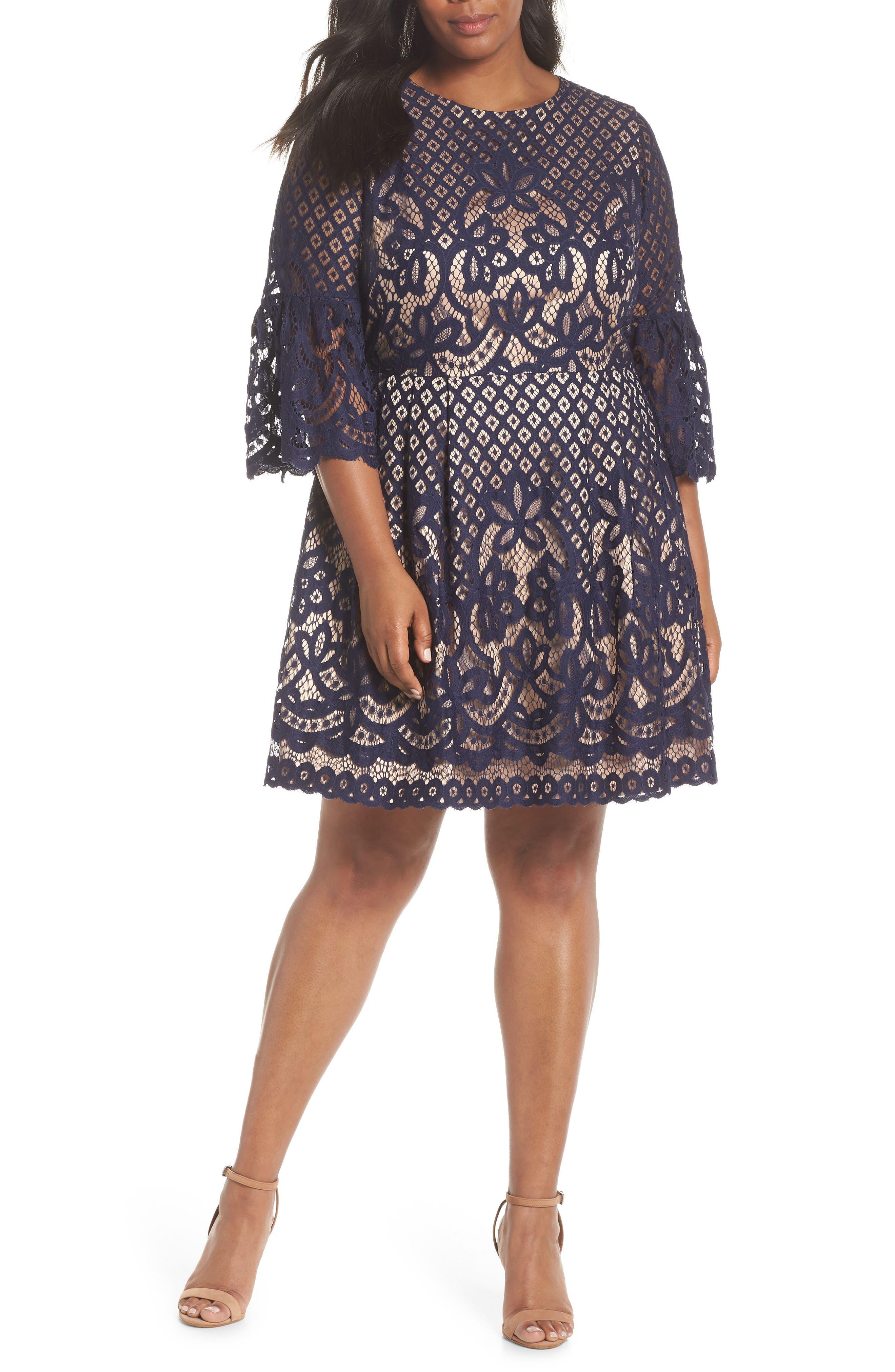 Plus Size Eliza J Bell Sleeve Lace Fit & Flare Dress