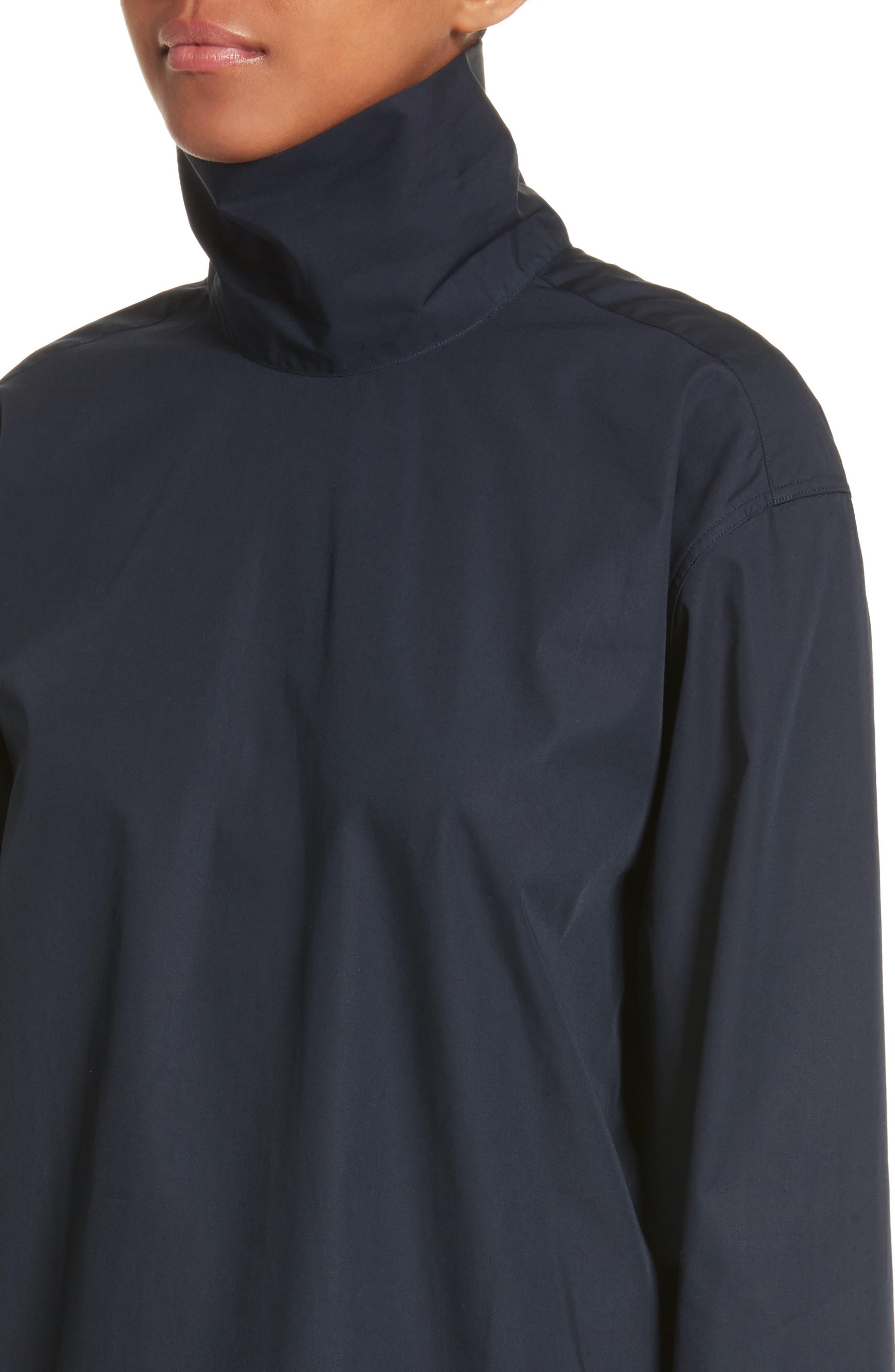 Cotton Poplin Mock Neck Shirt,                             Alternate thumbnail 4, color,                             400