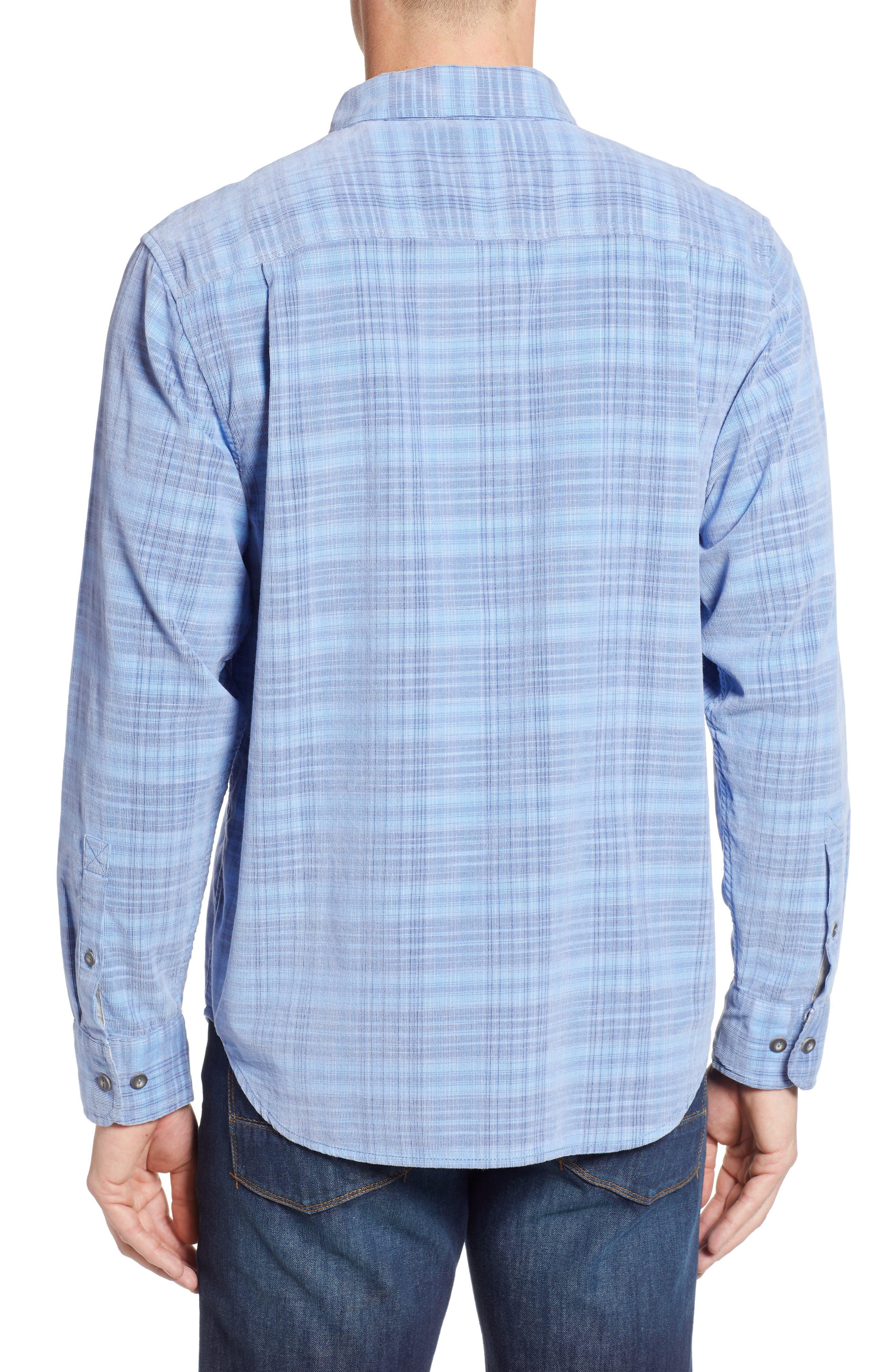 Cruzy Plaid Corduroy Sport Shirt,                             Alternate thumbnail 2, color,                             RIVIERA AZURE