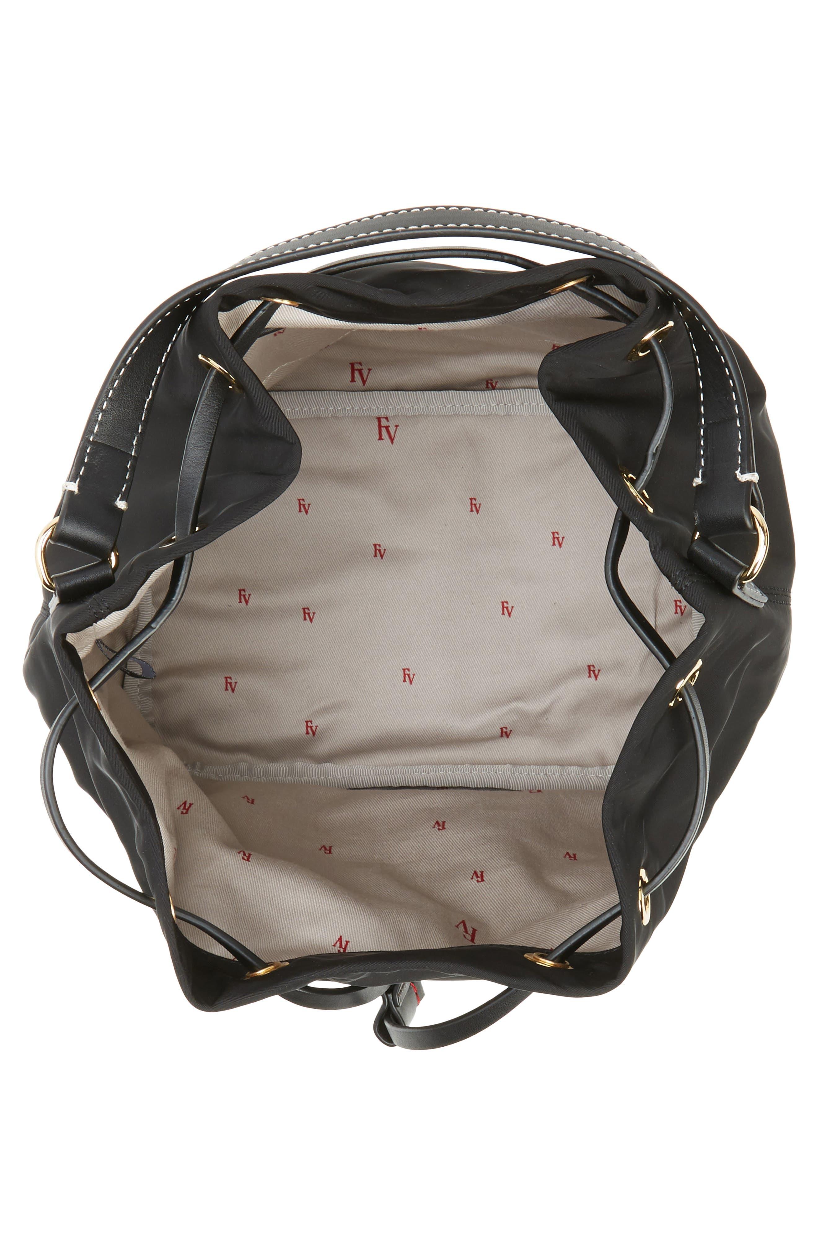 Medium Ann Nylon Bucket Bag,                             Alternate thumbnail 4, color,                             001
