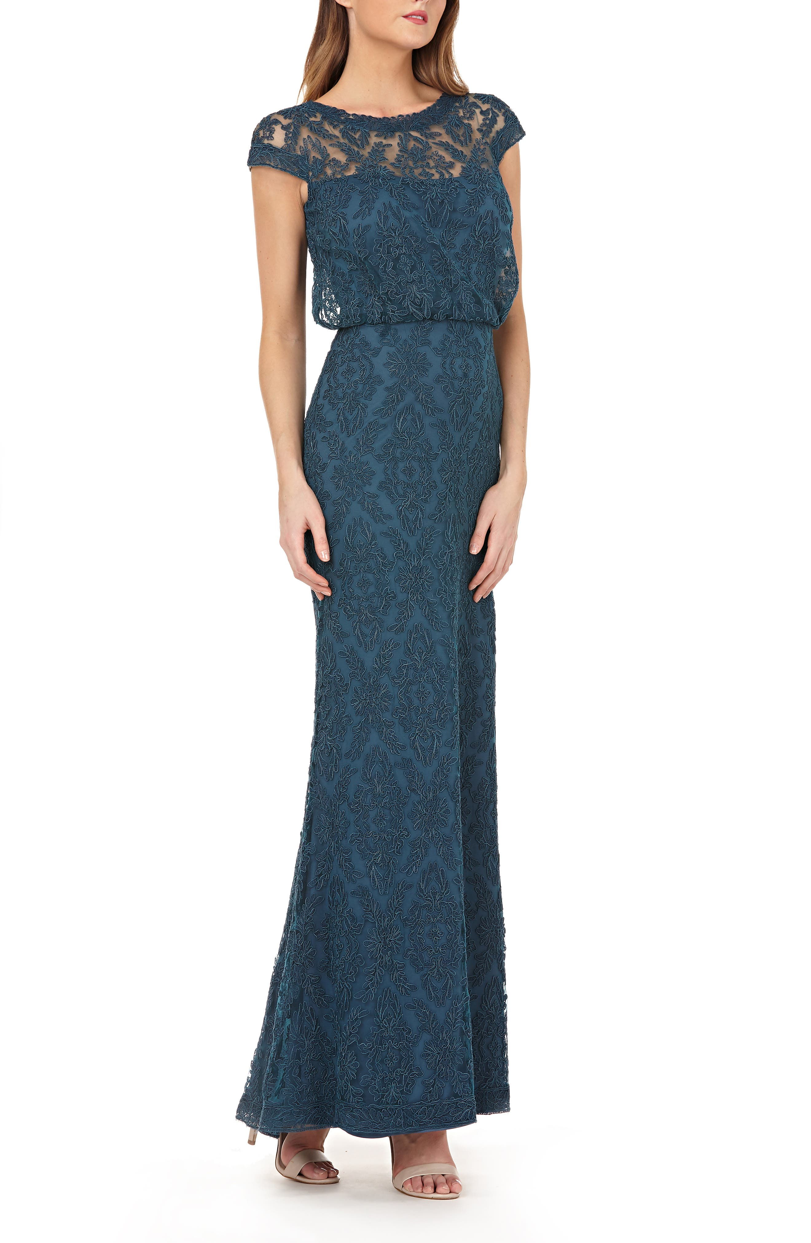 Js Collections Blouson Bodice Lace Gown, Blue/green