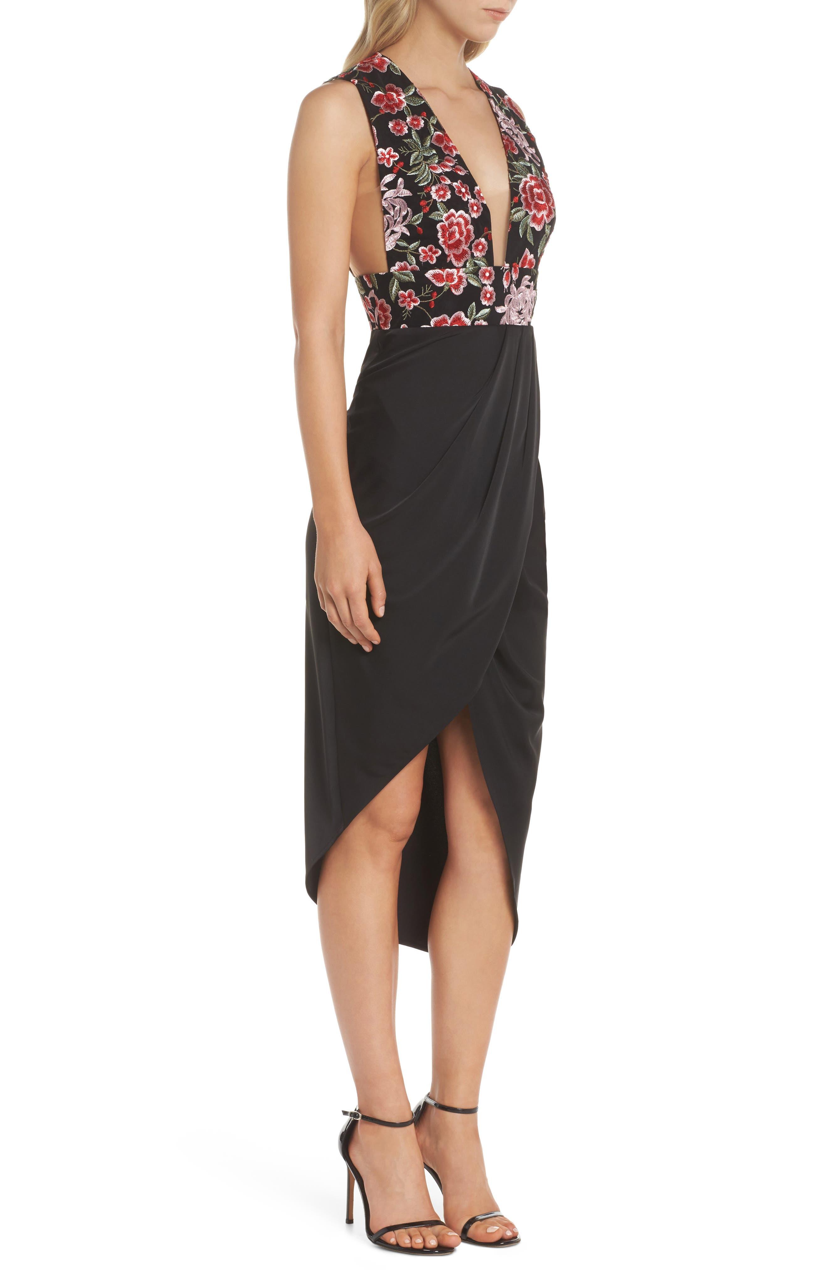 Mila Embroidered Tulip Skirt Dress,                             Alternate thumbnail 3, color,                             001
