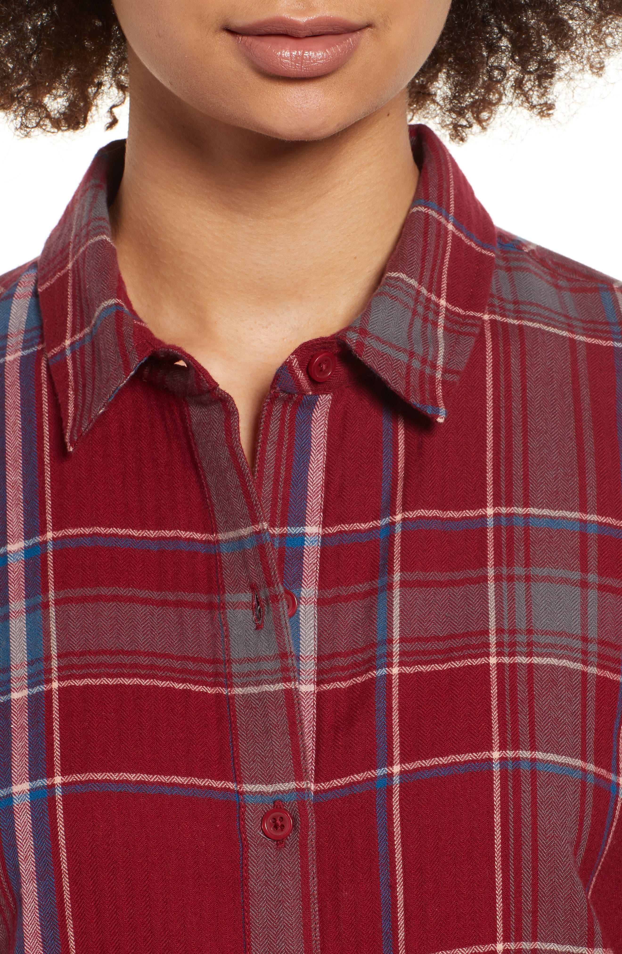 Frayed Edge Plaid Shirt,                             Alternate thumbnail 6, color,                             RED RUMBA NICOLE PLAID