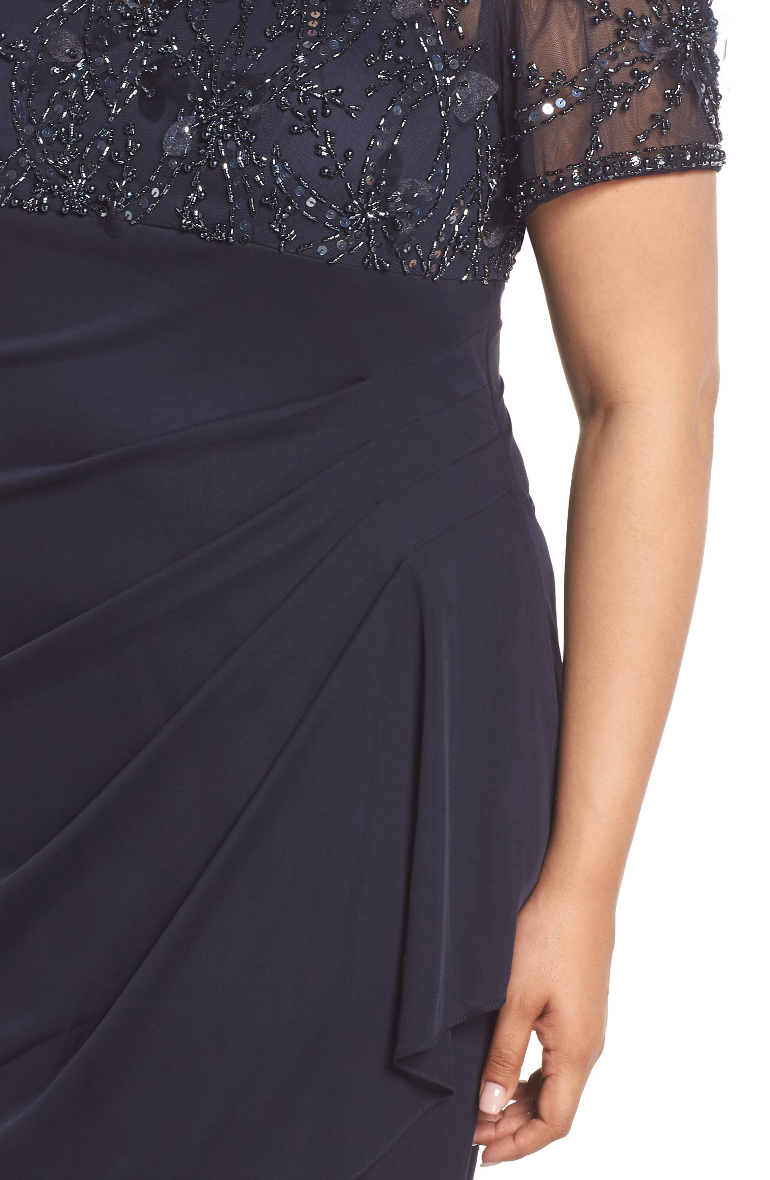 XSCAPE,                             Beaded Bodice Ruched Sheath Dress,                             Alternate thumbnail 4, color,                             400
