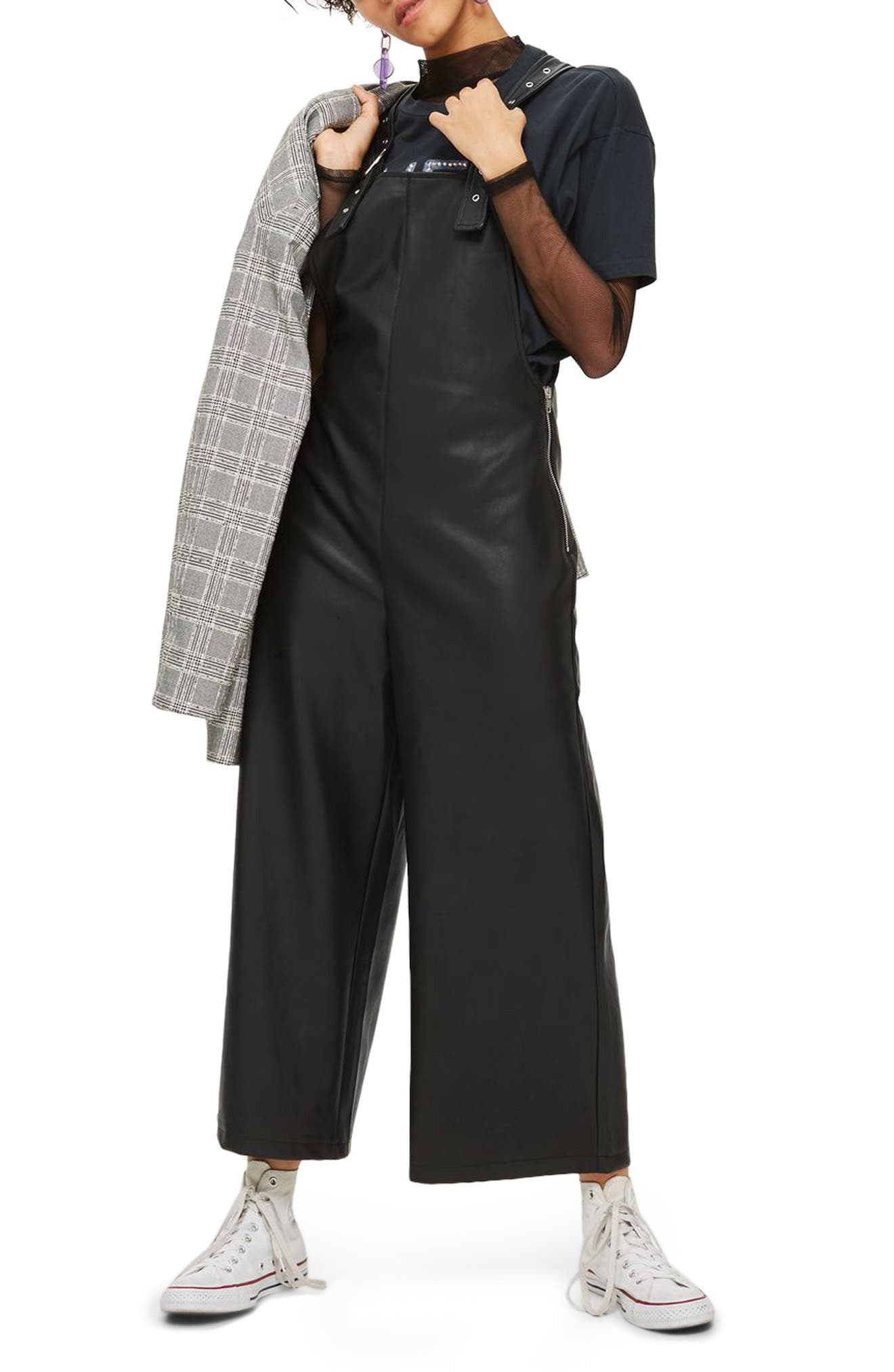 Faux Leather Overalls,                         Main,                         color,