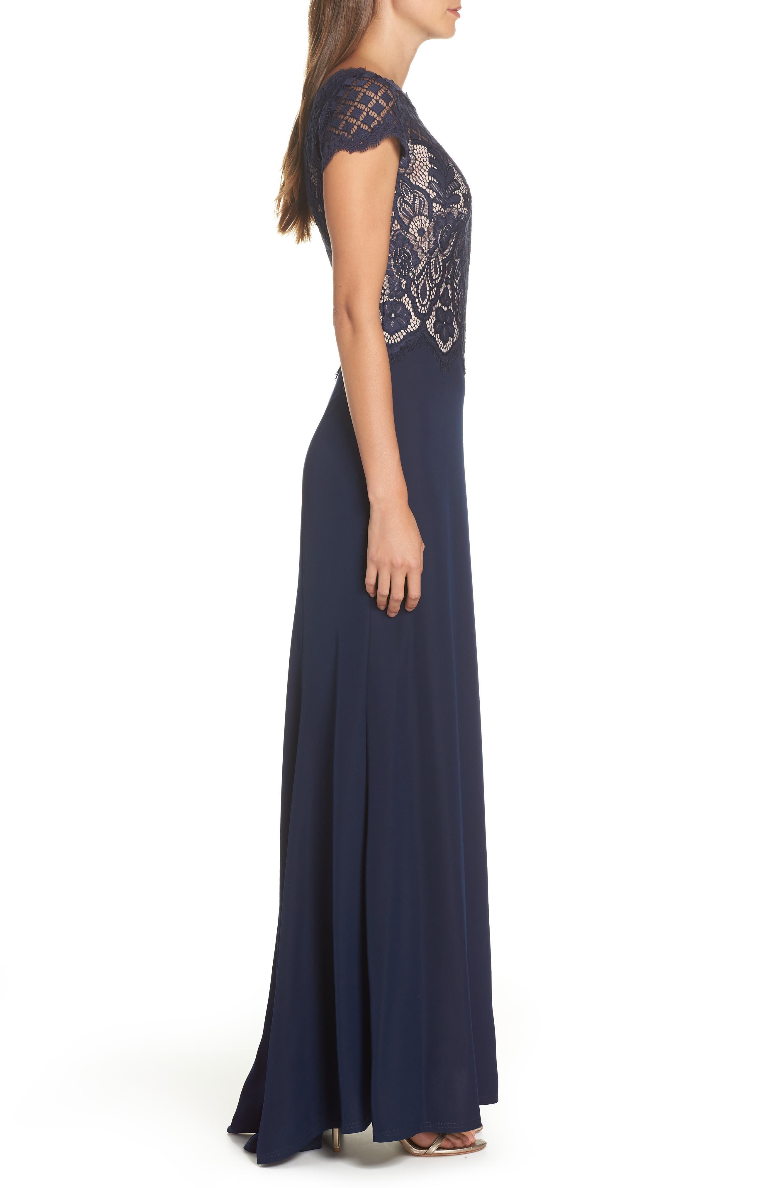 Lace & Crepe A-Line Gown,                             Alternate thumbnail 4, color,                             NAVY/ PETAL