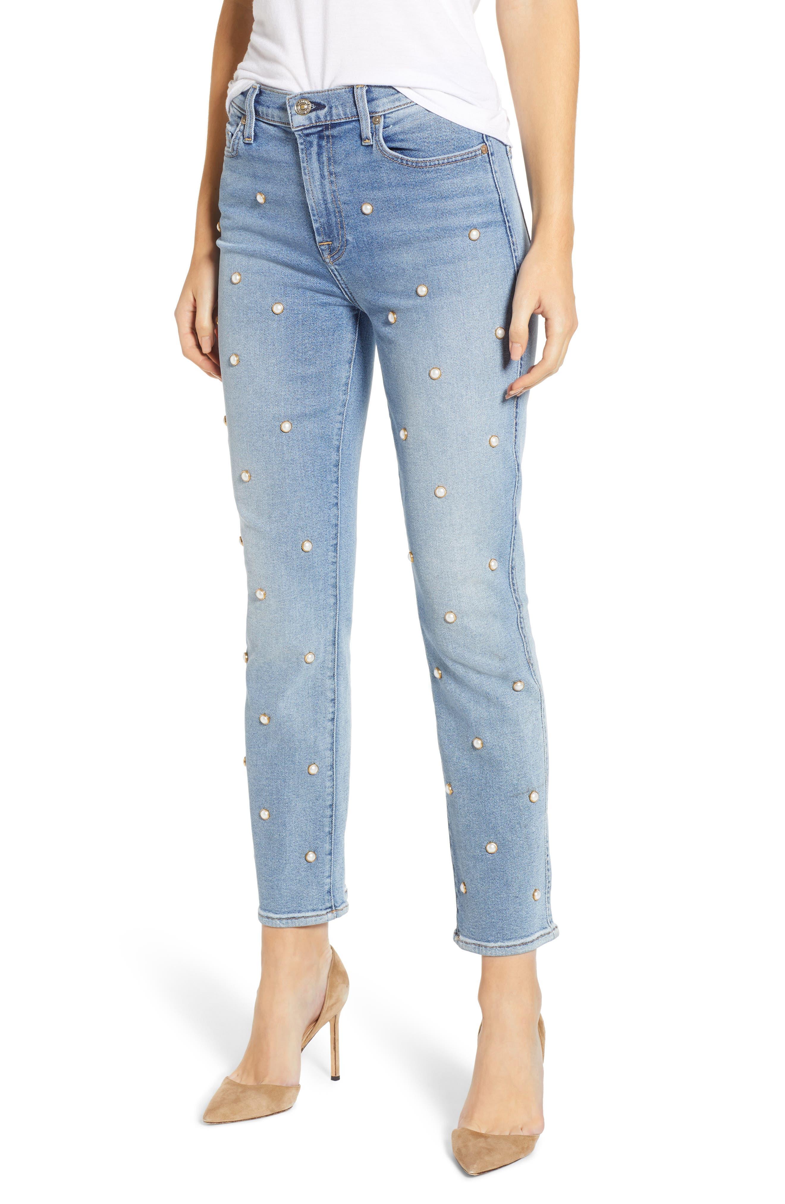 Edie Faux Pearl Detail Ankle Jeans, Main, color, LUXE VINTAGE FLORA