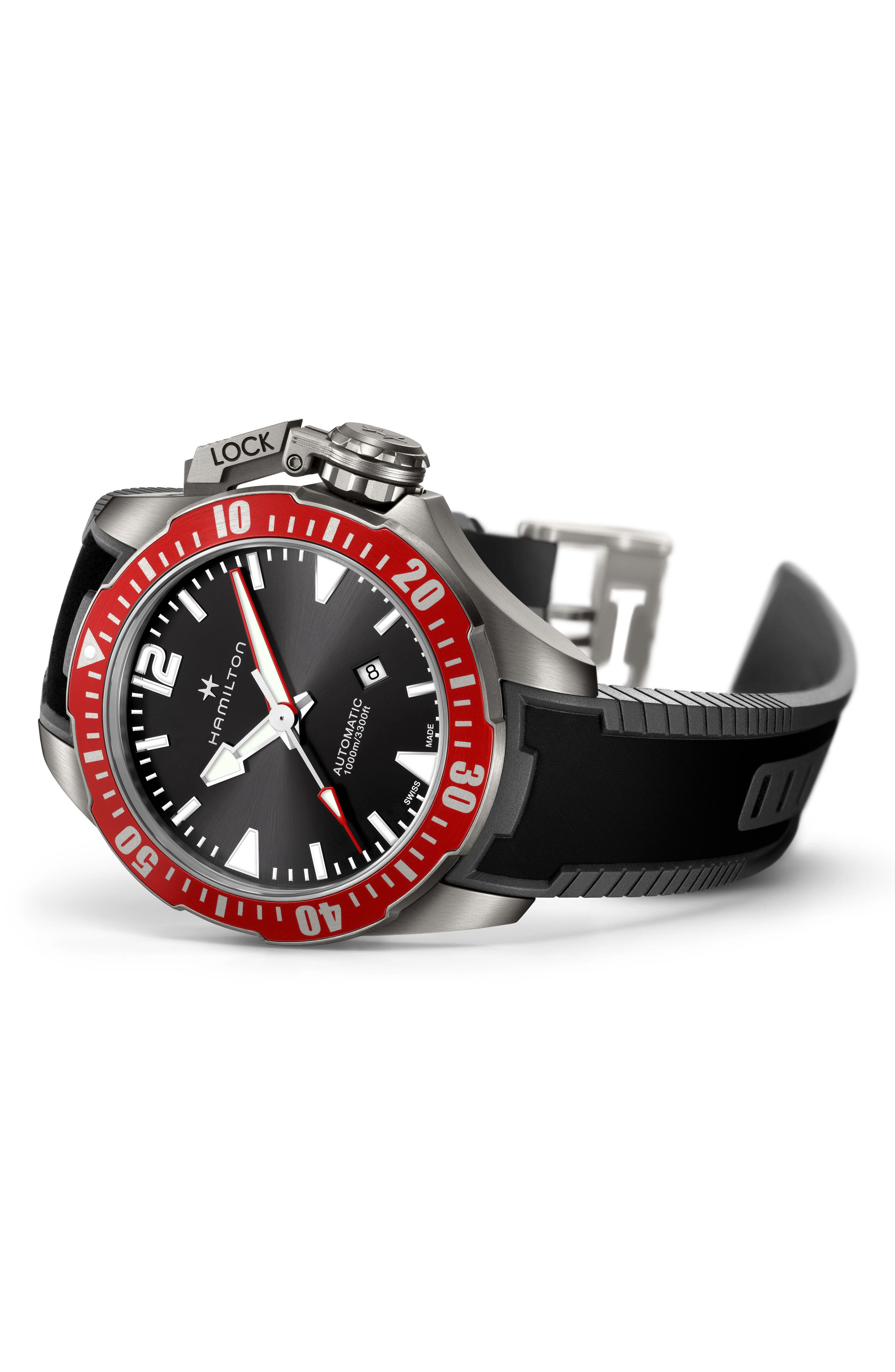 Khaki Navy Frogman Automatic Silicone Strap Watch, 46mm,                             Alternate thumbnail 3, color,                             BLACK/ RED/ SILVER