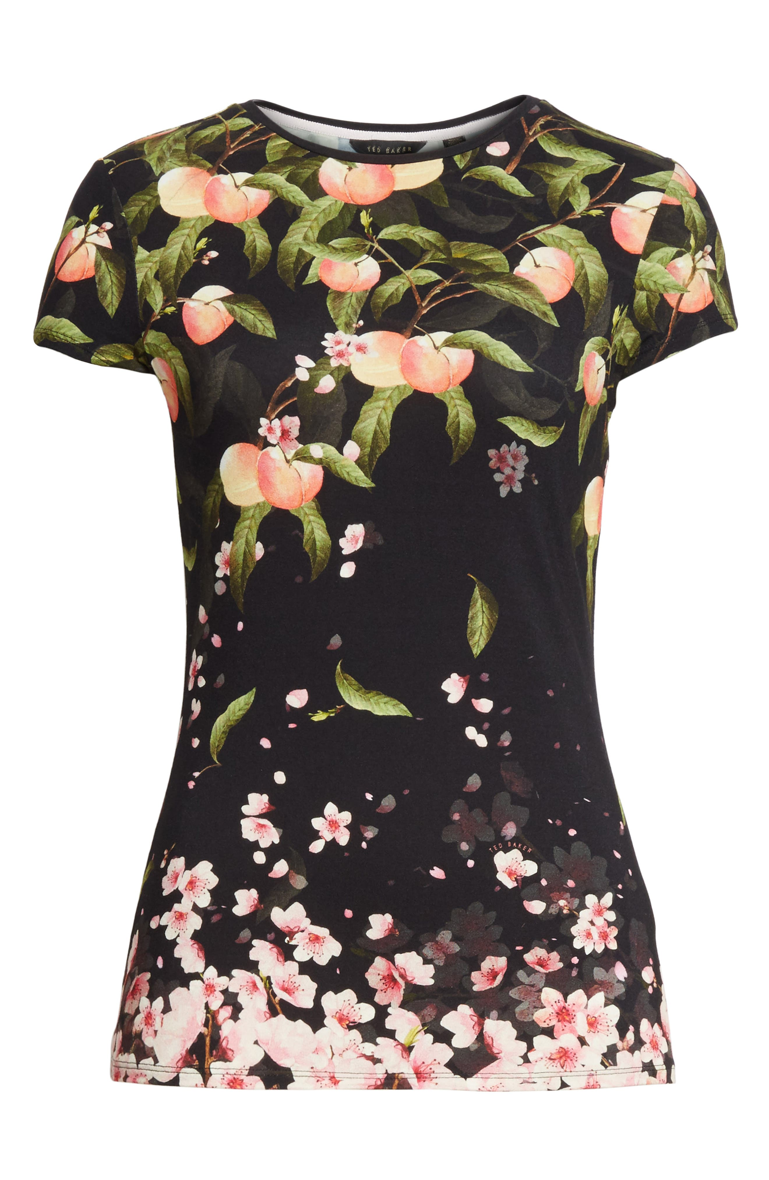 Peach Blossom Fitted Tee,                             Alternate thumbnail 6, color,                             001