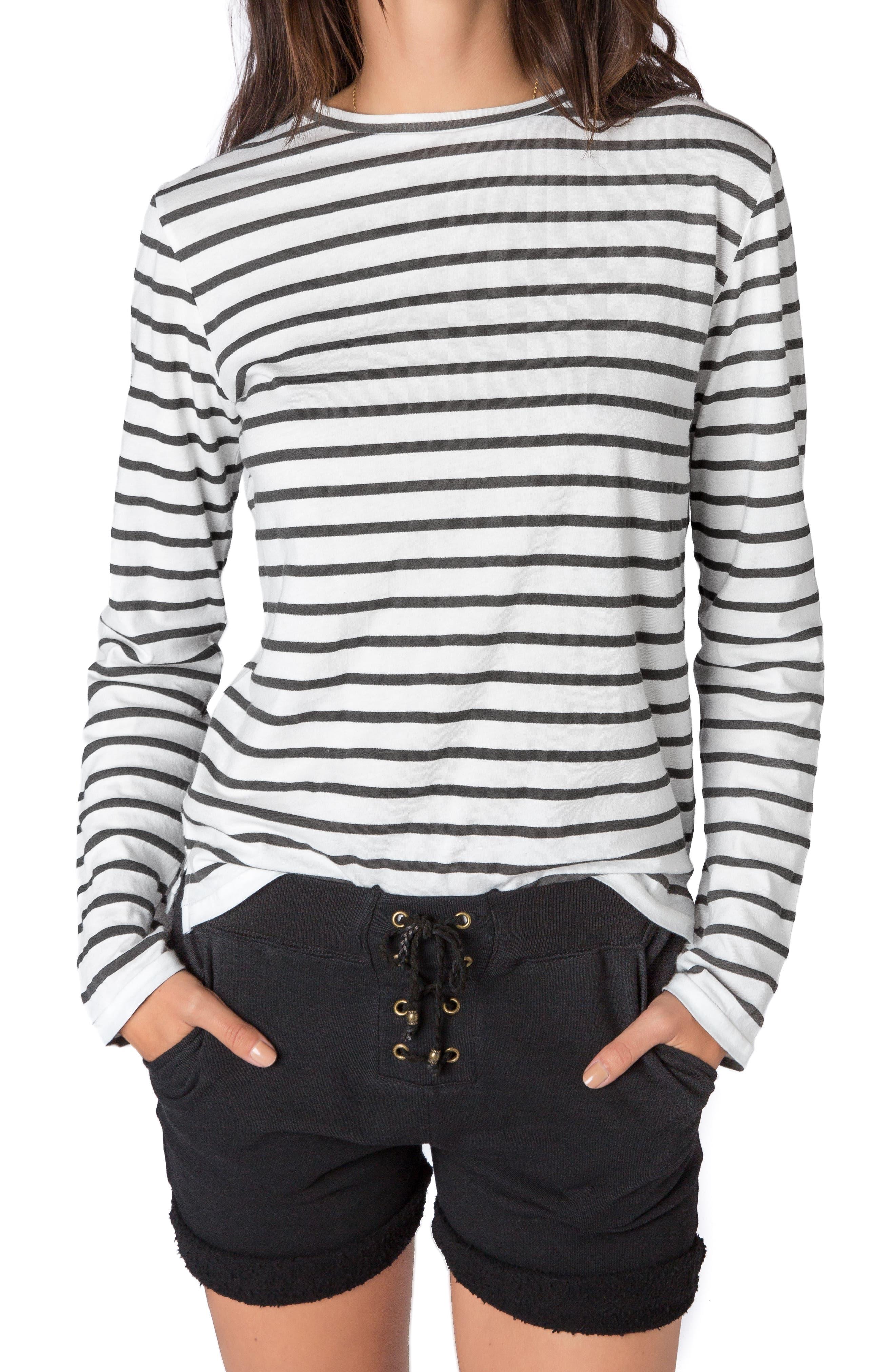 Stripe Long Sleeve Tee,                         Main,                         color, 100