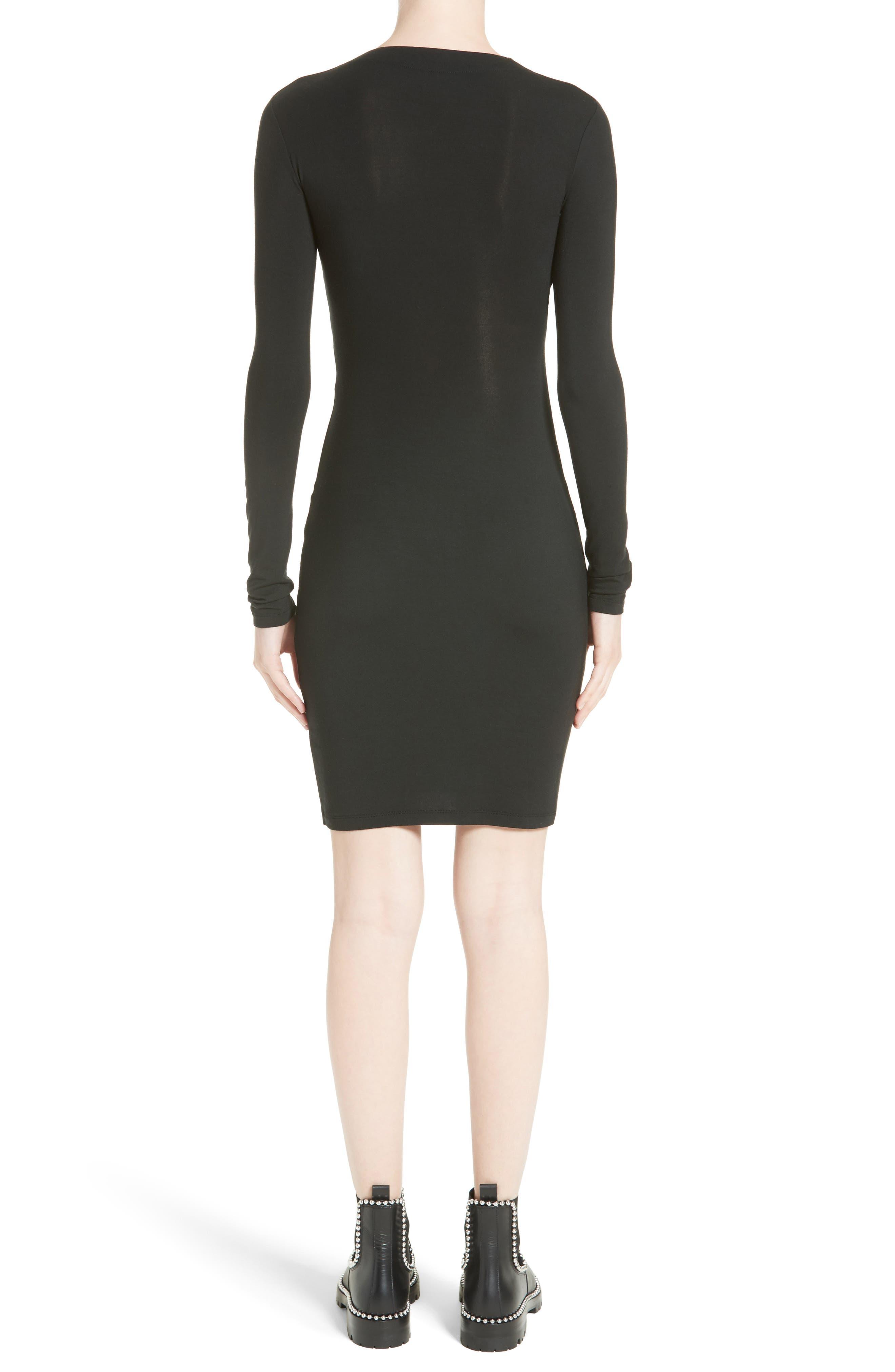 Twist Front Body-Con Dress,                             Alternate thumbnail 2, color,                             001