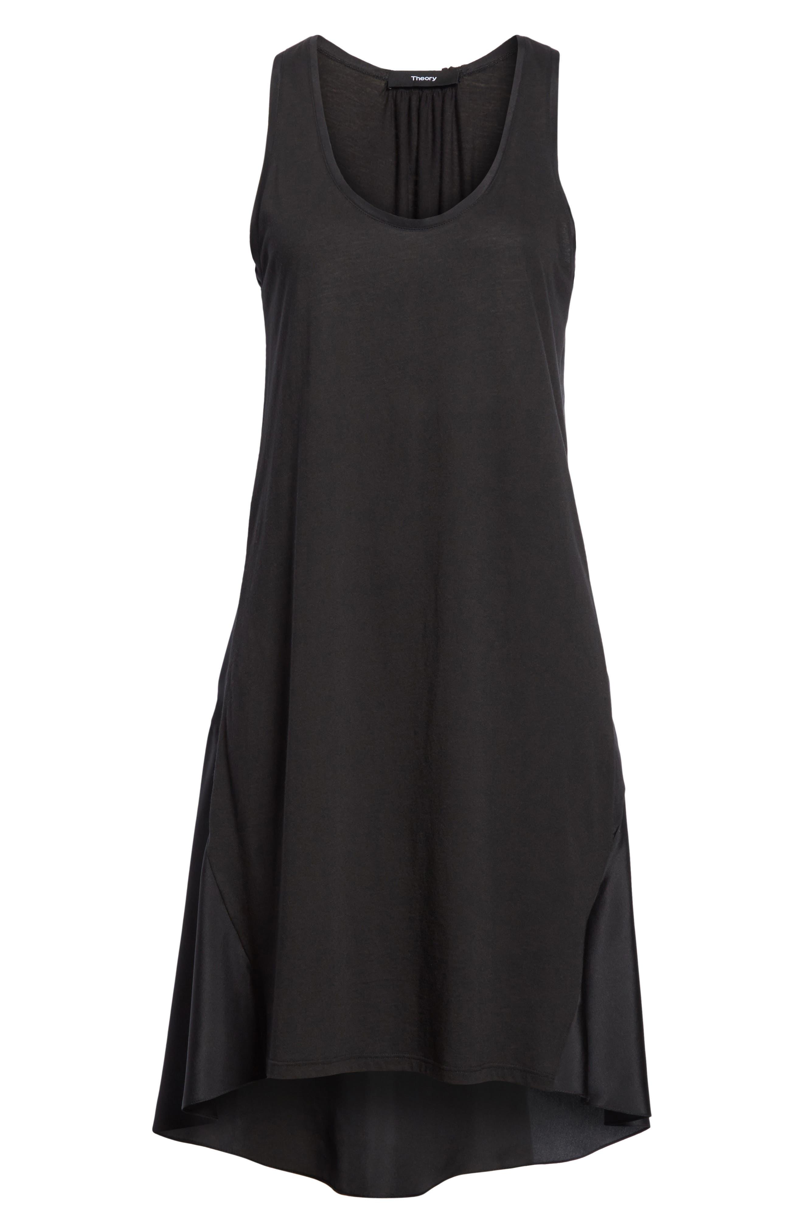 Plume Jersey Scoop Neck Swing Dress,                             Alternate thumbnail 6, color,                             001