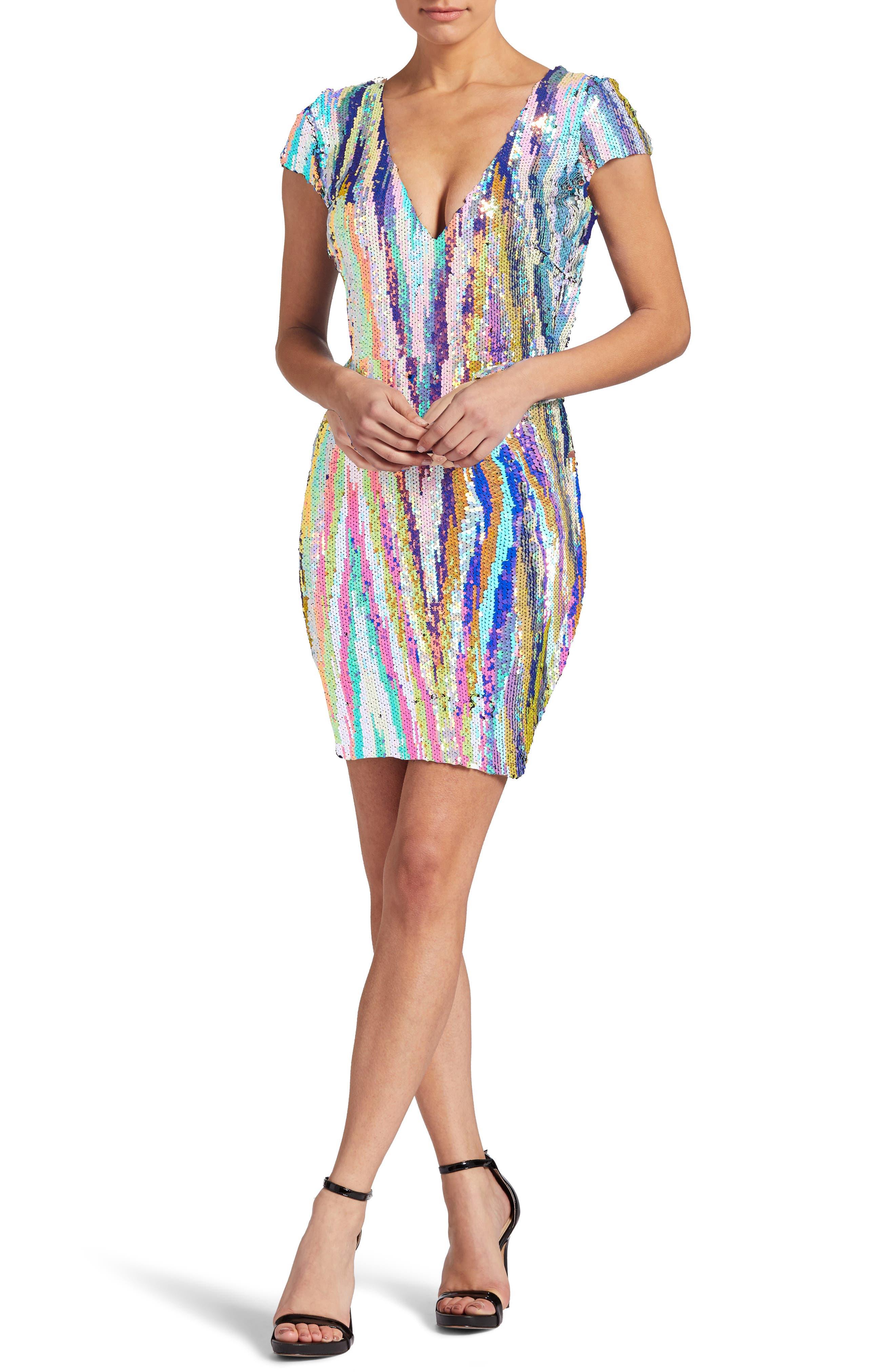 Zoe Sequin Body-Con Dress,                         Main,                         color, OPAL MULTI