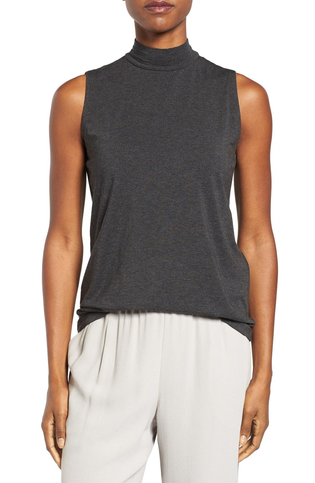 EILEEN FISHER,                             Lightweight Tencel<sup>®</sup> Lyocell Stretch Jersey Top,                             Main thumbnail 1, color,                             001