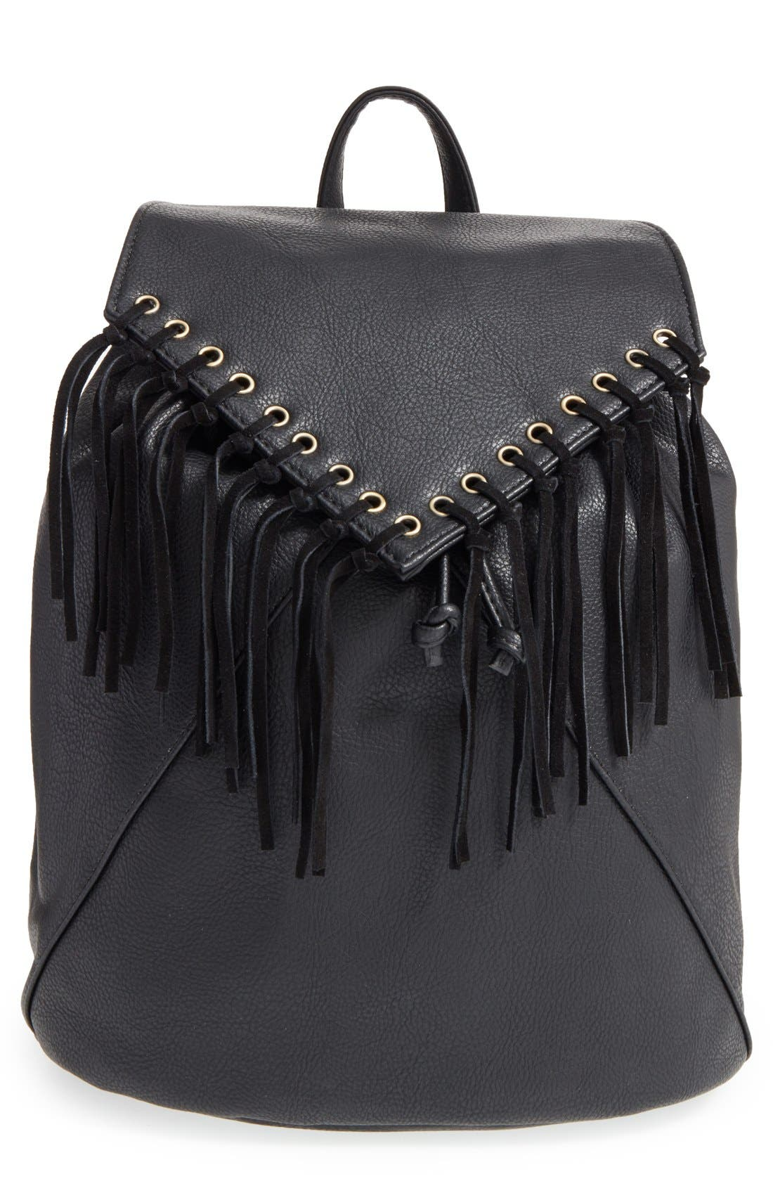 'Hartley' Faux Leather Backpack,                             Main thumbnail 1, color,                             001